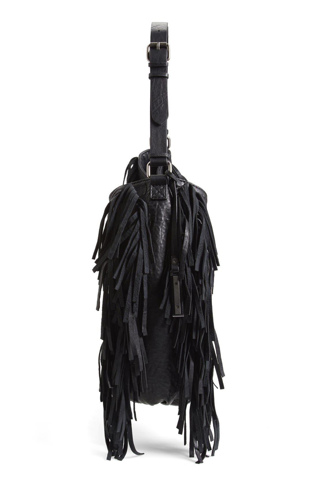 Treasure&Bond Fringe Hobo Bag,                             Alternate thumbnail 5, color,                             Black