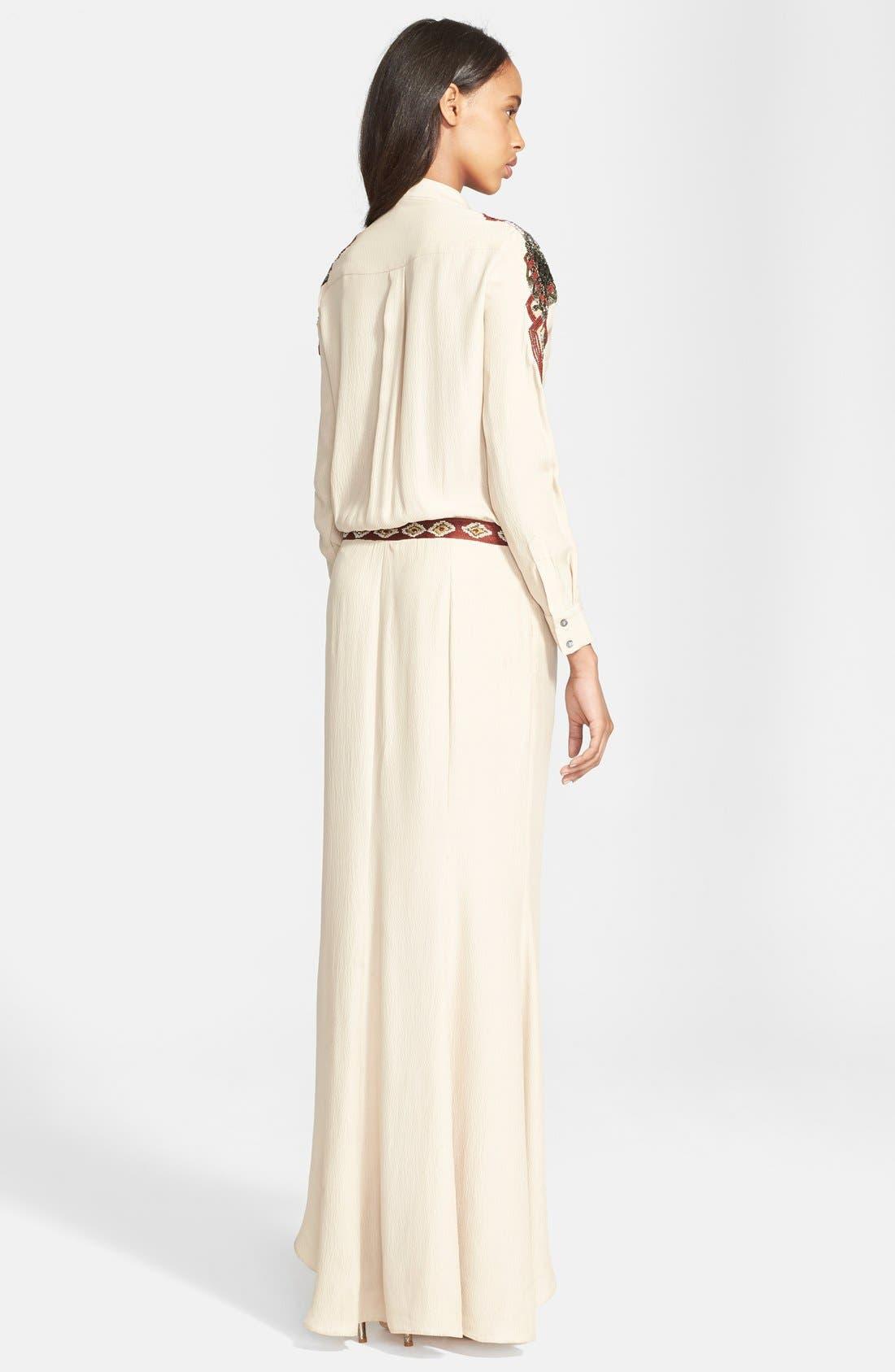 Alternate Image 2  - Haute Hippie Embellished Silk Shirtdress Gown