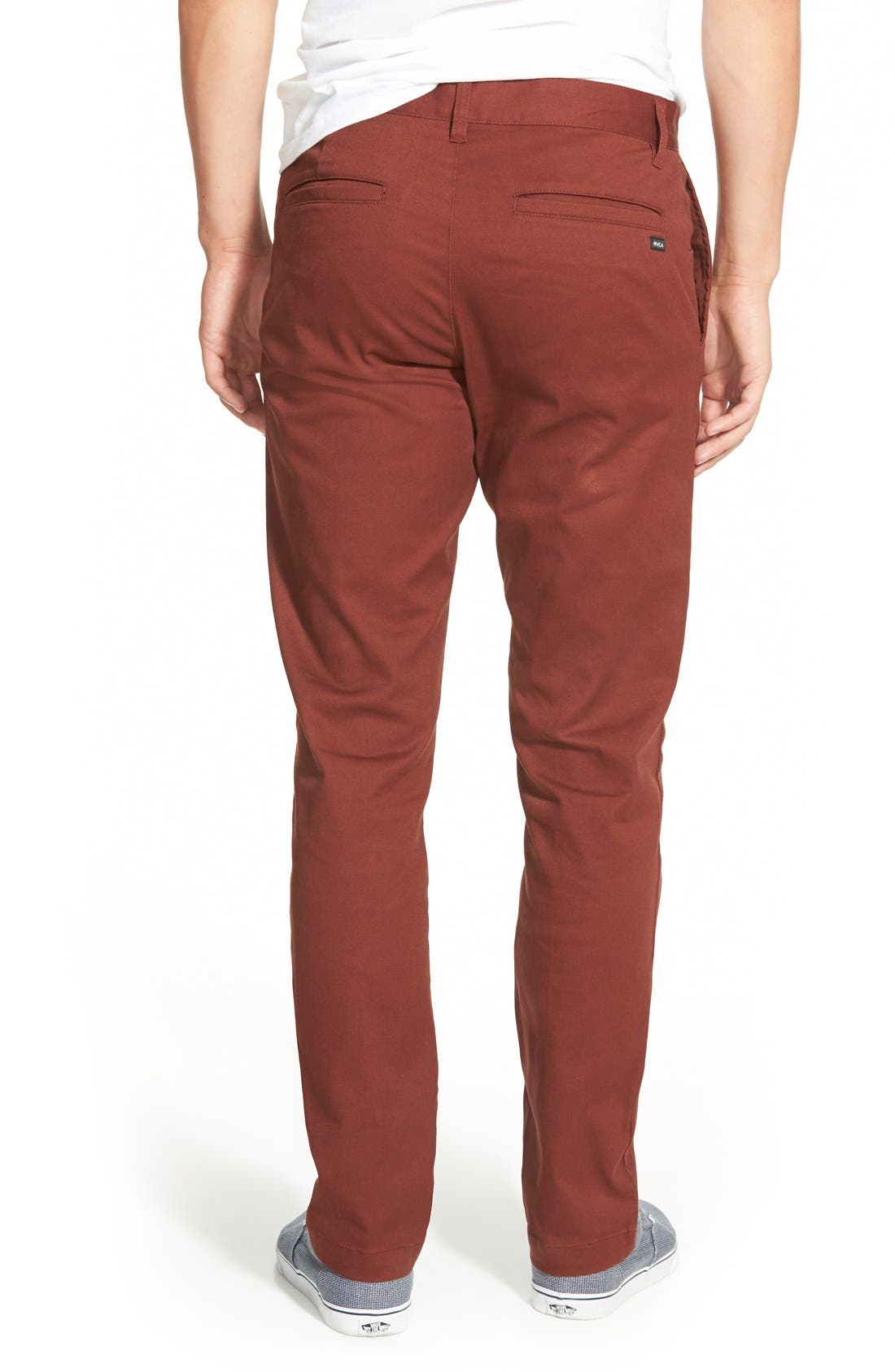 'The Week-End' Slim Straight Leg Stretch Twill Chinos,                             Alternate thumbnail 2, color,                             Red Earth