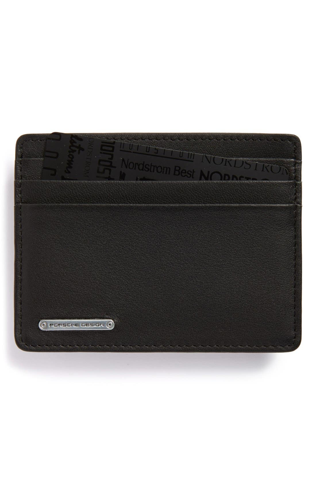 Leather Cardholder,                             Main thumbnail 1, color,                             Black