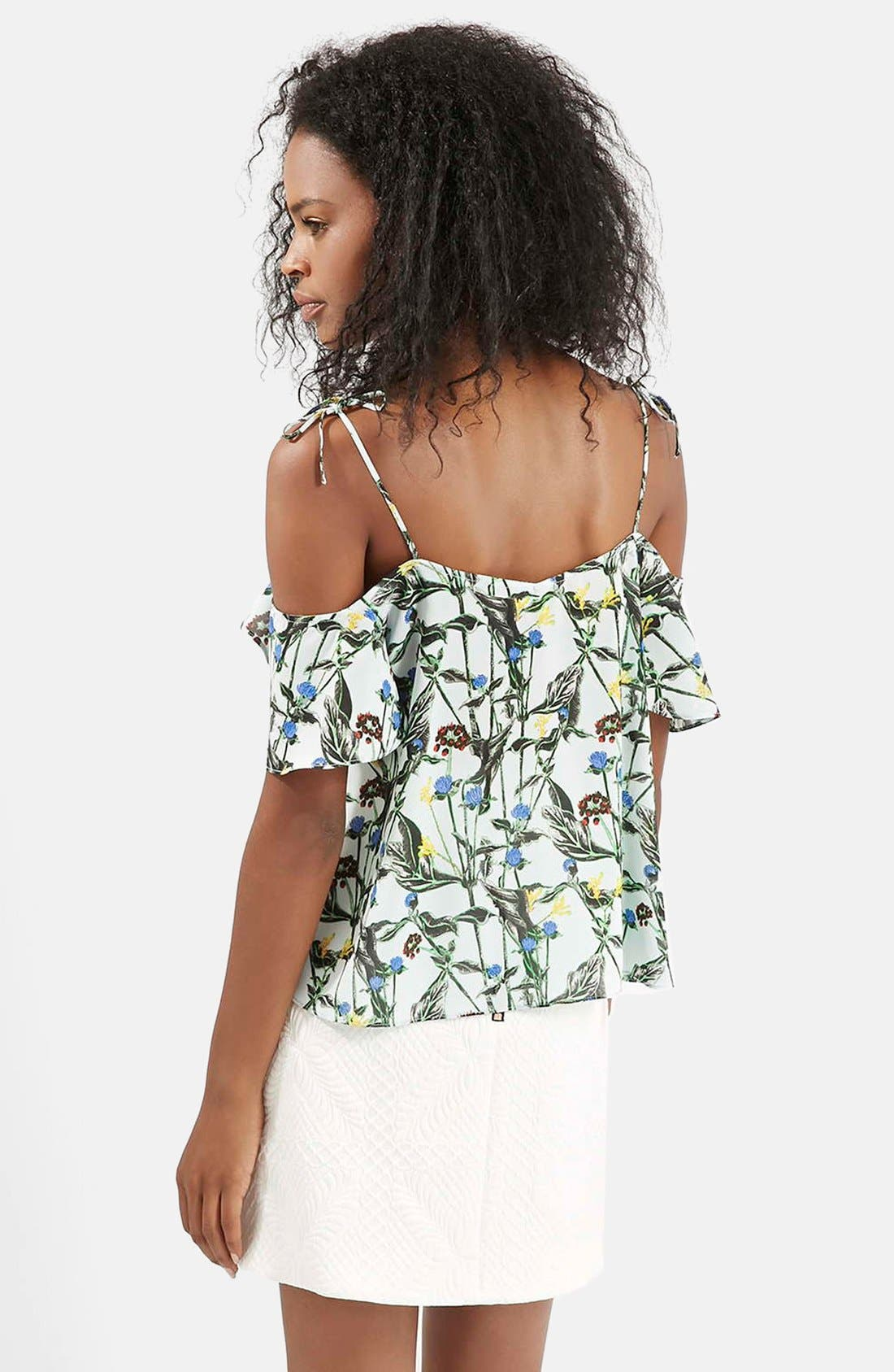 Wild Flower Print Bardot Top,                             Alternate thumbnail 2, color,                             White Multi