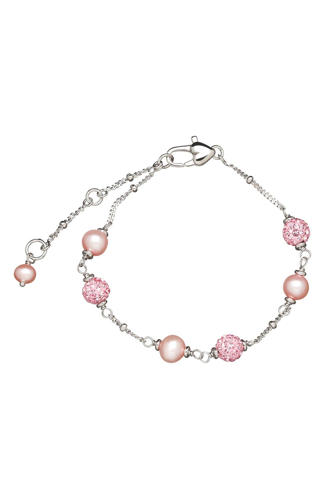 Alternate Image 2  - HONORA Crystal & Freshwater Pearl Station Bracelet (Girls)
