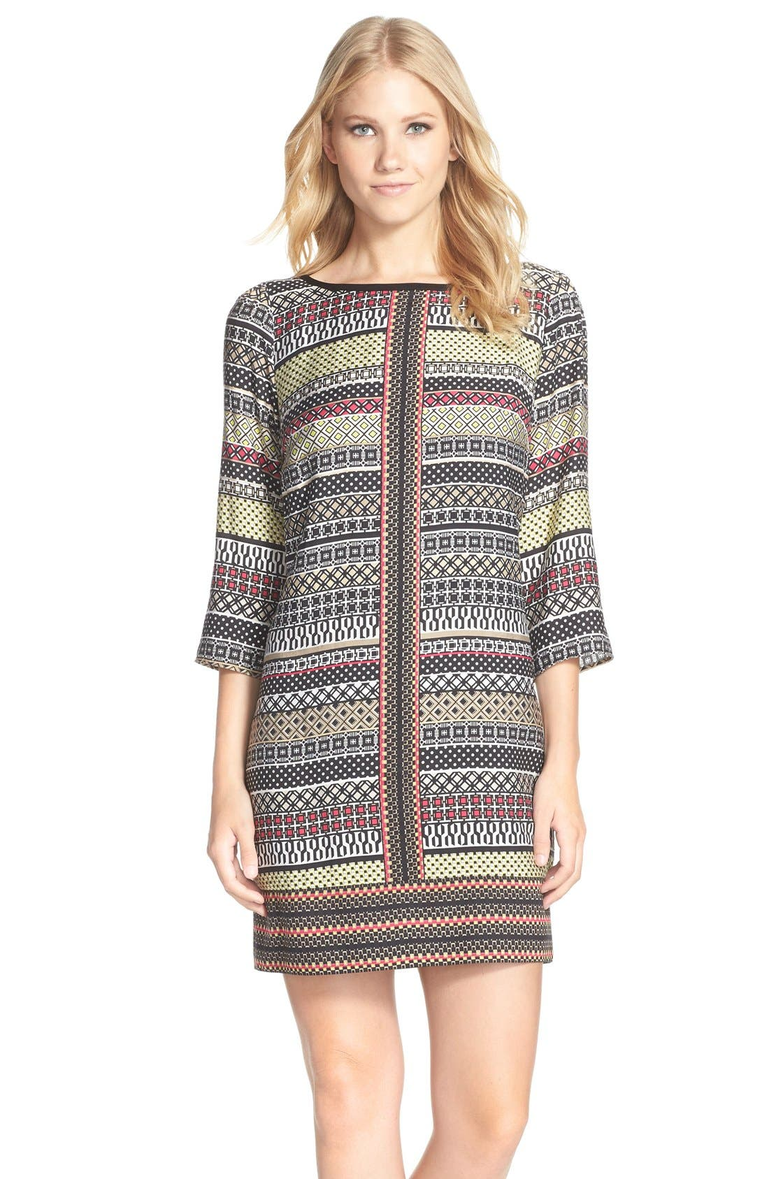 Alternate Image 1 Selected - Laundry by Shelli Segal Print Twill A-Line Dress (Regular & Petite)