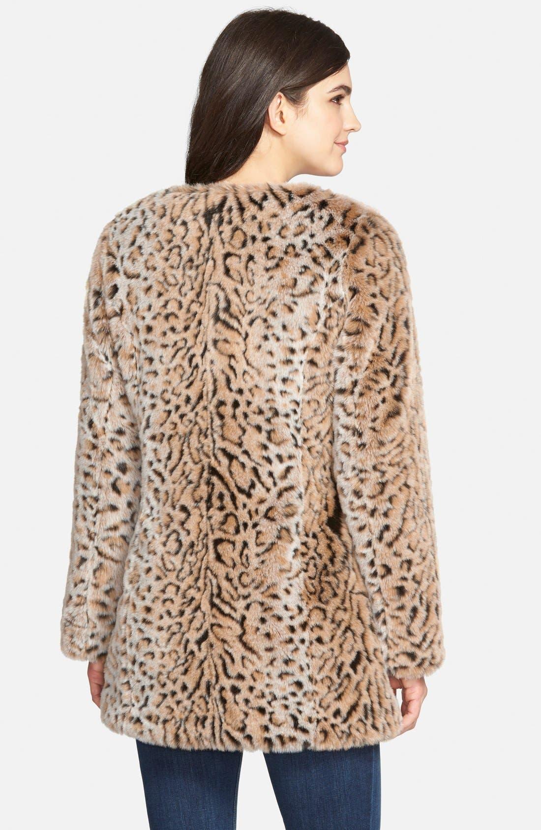Faux Fur Leopard Print Coat,                             Alternate thumbnail 2, color,                             Leopard