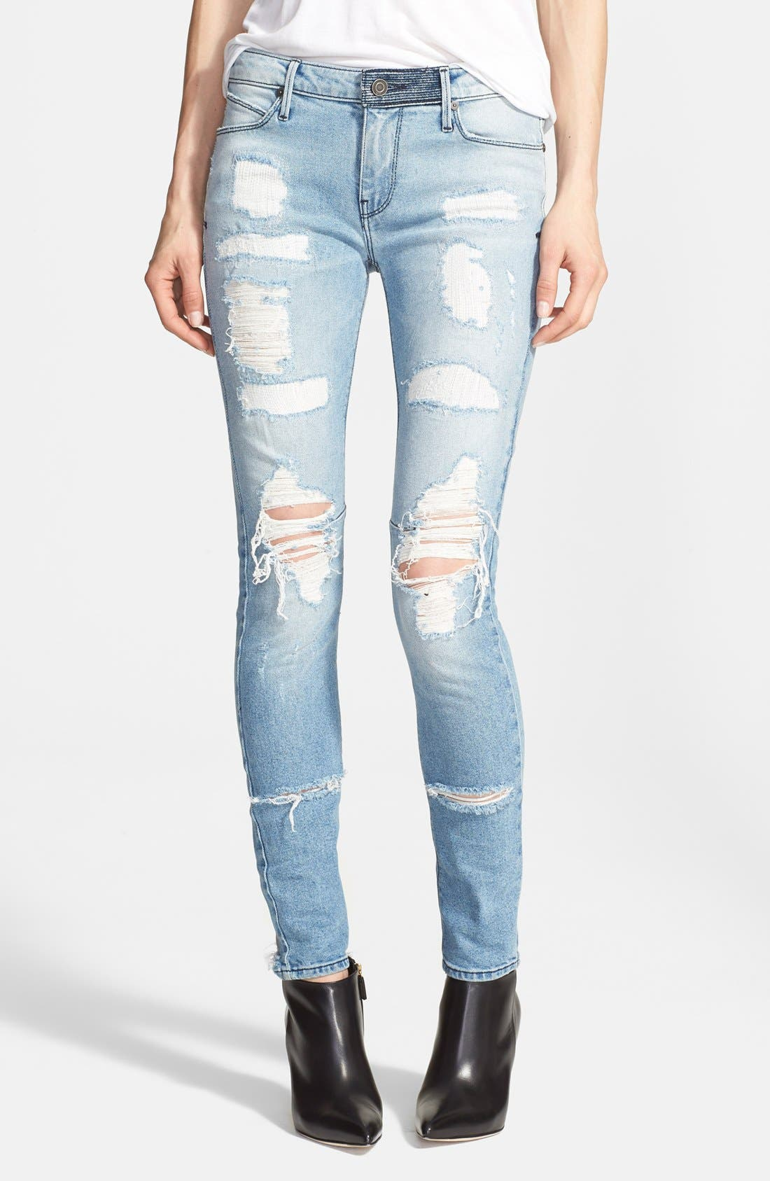 'Icon' Destroyed Skinny Jeans,                             Main thumbnail 1, color,                             Whiplash