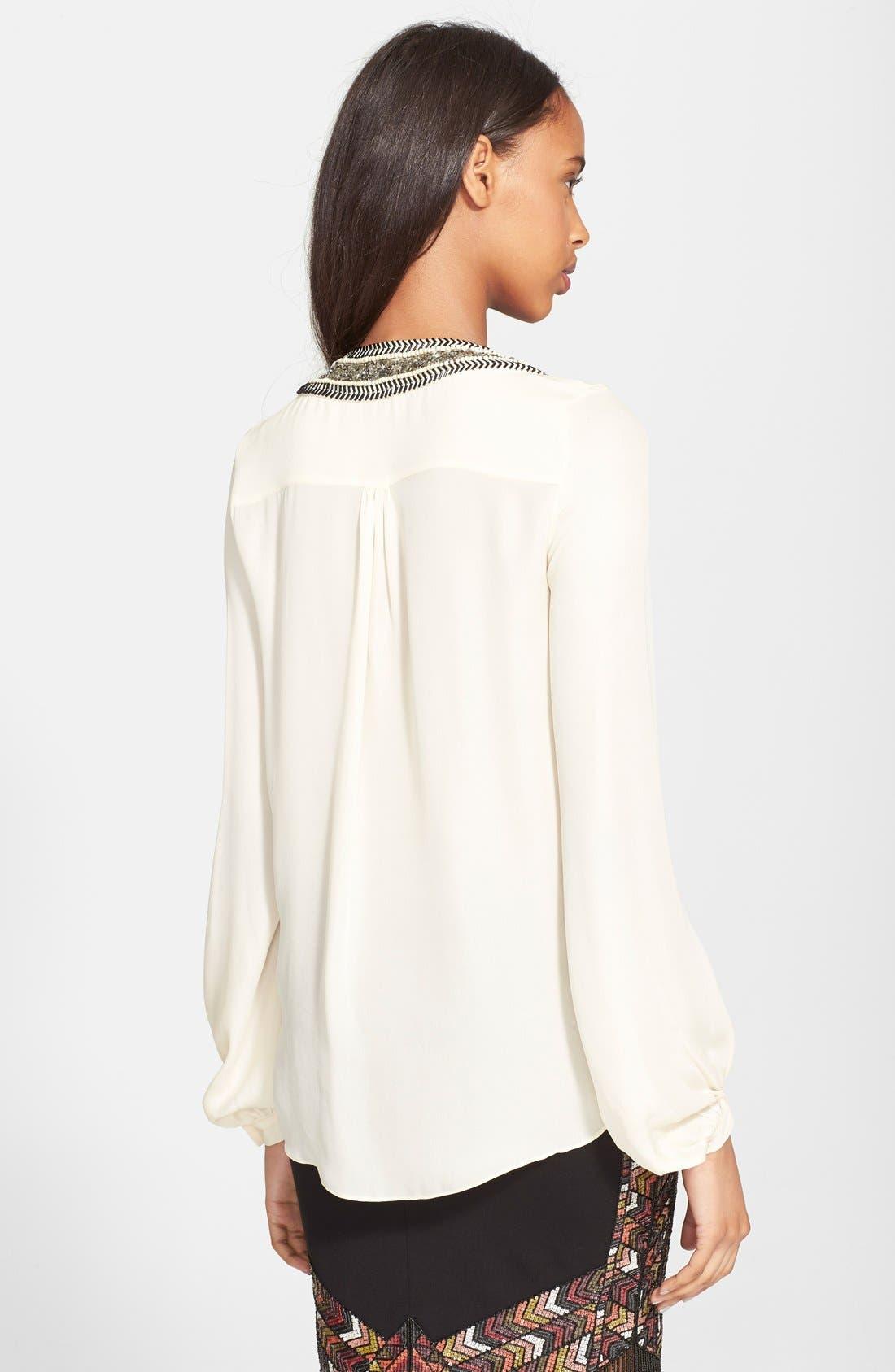 Alternate Image 2  - Haute Hippie Chevron Embellished V-Neck Silk Blouse