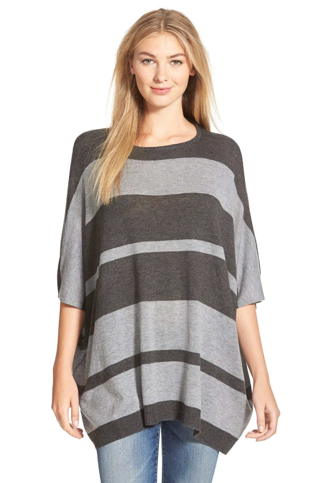 Alternate Image 1 Selected - RD Style Poncho Stripe Sweater