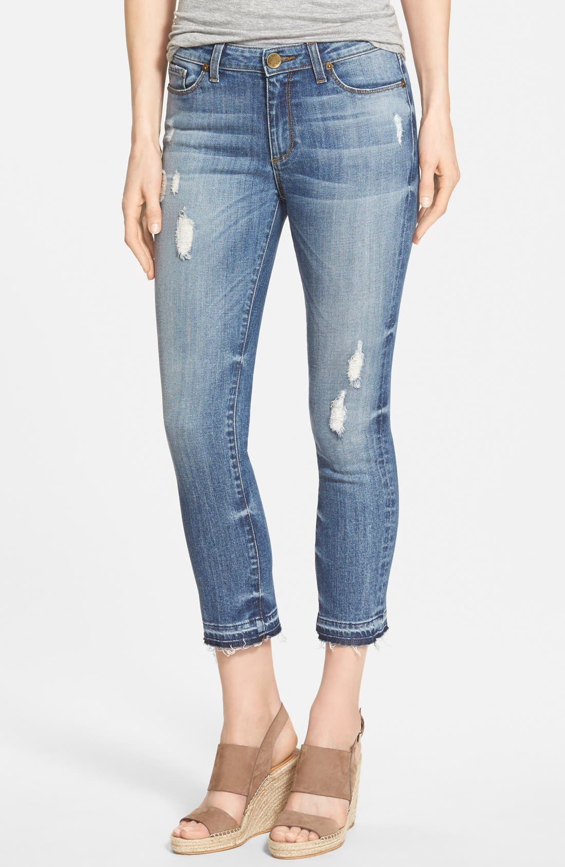 Alternate Image 1 Selected - KUT from the Kloth 'Reese' Distressed Stretch Ankle Straight Leg Jeans (Fantastic)