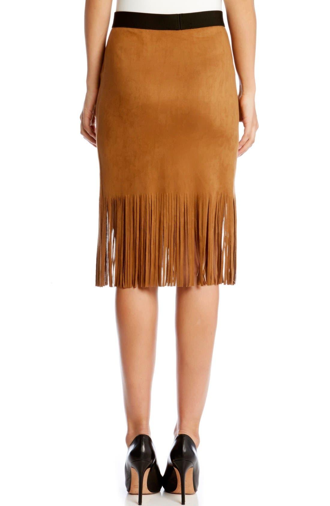 Alternate Image 2  - Karen Kane Faux Suede Midi Pencil Skirt with Fringe
