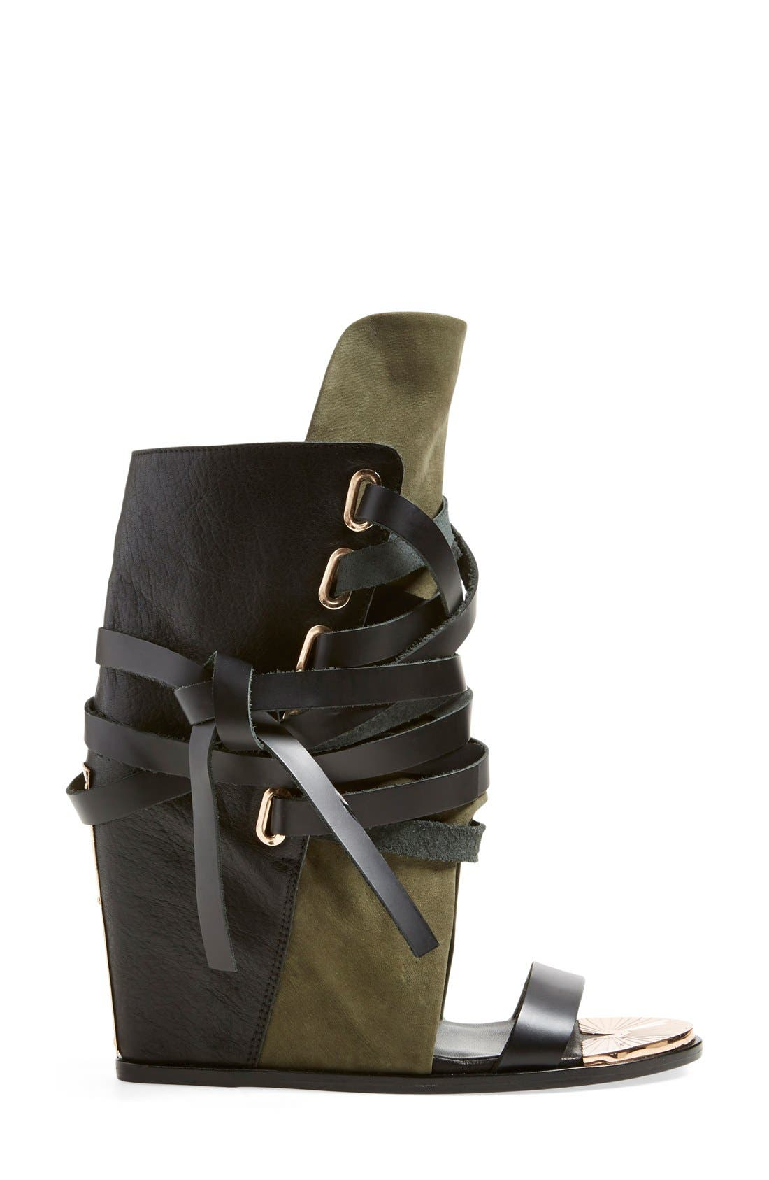 'Mount' Wedge Sandal,                             Alternate thumbnail 4, color,                             Black/ Cargo