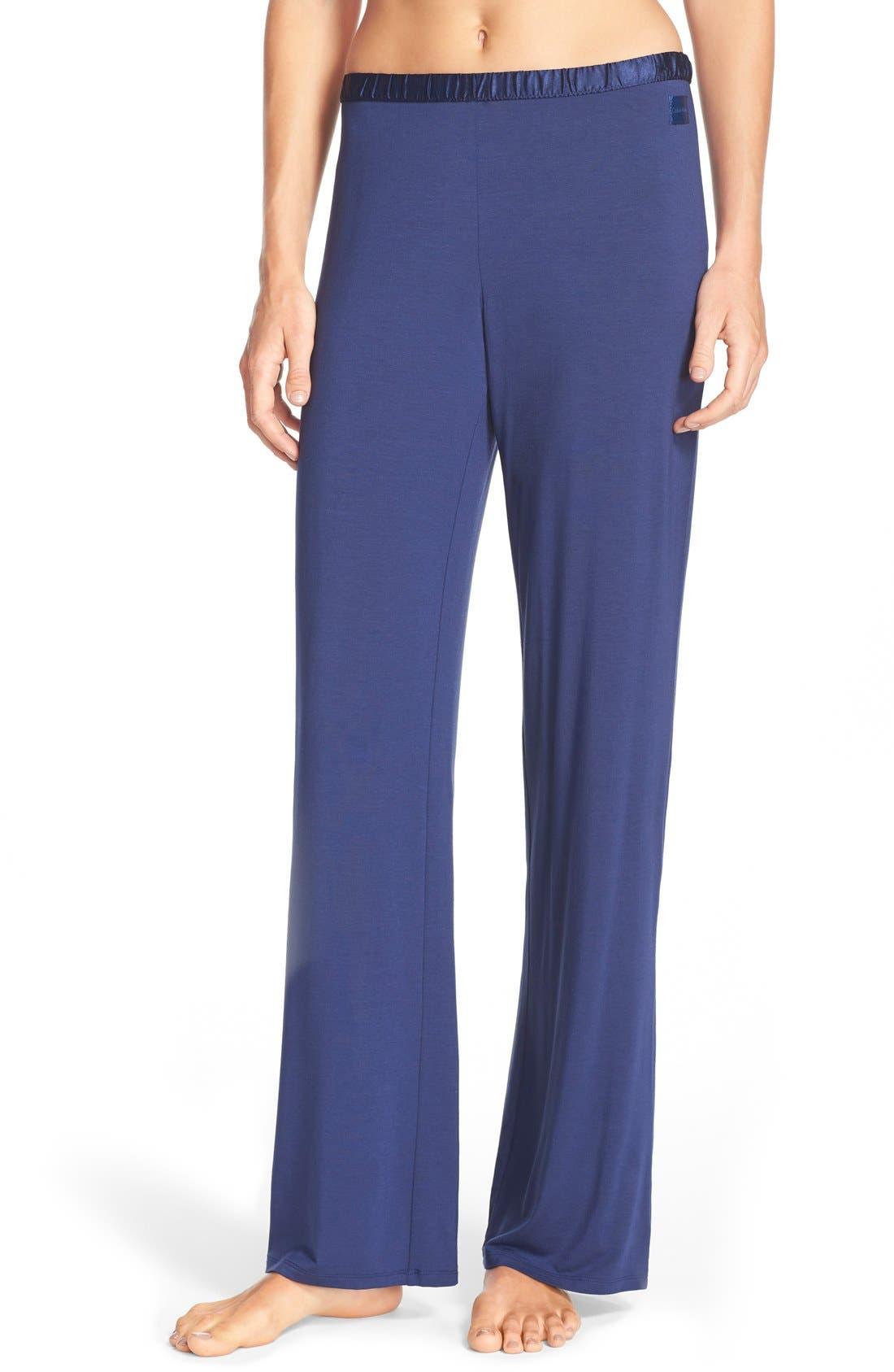 Main Image - Calvin Klein 'Essentials' Satin Waist Pajama Pants