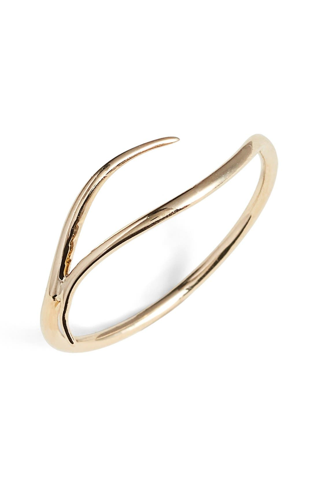 'Tenor' Gold Wave Ring,                         Main,                         color, Gold