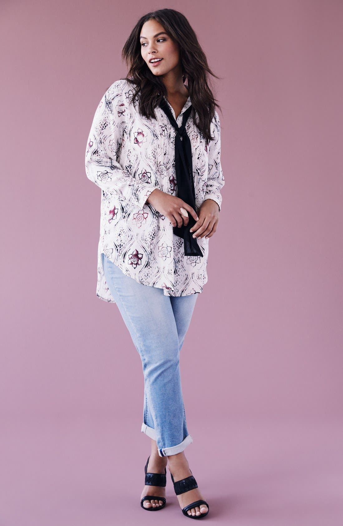 Alternate Image 4  - Melissa McCarthy Seven7 Print Scarf Neck Blouse (Plus Size)