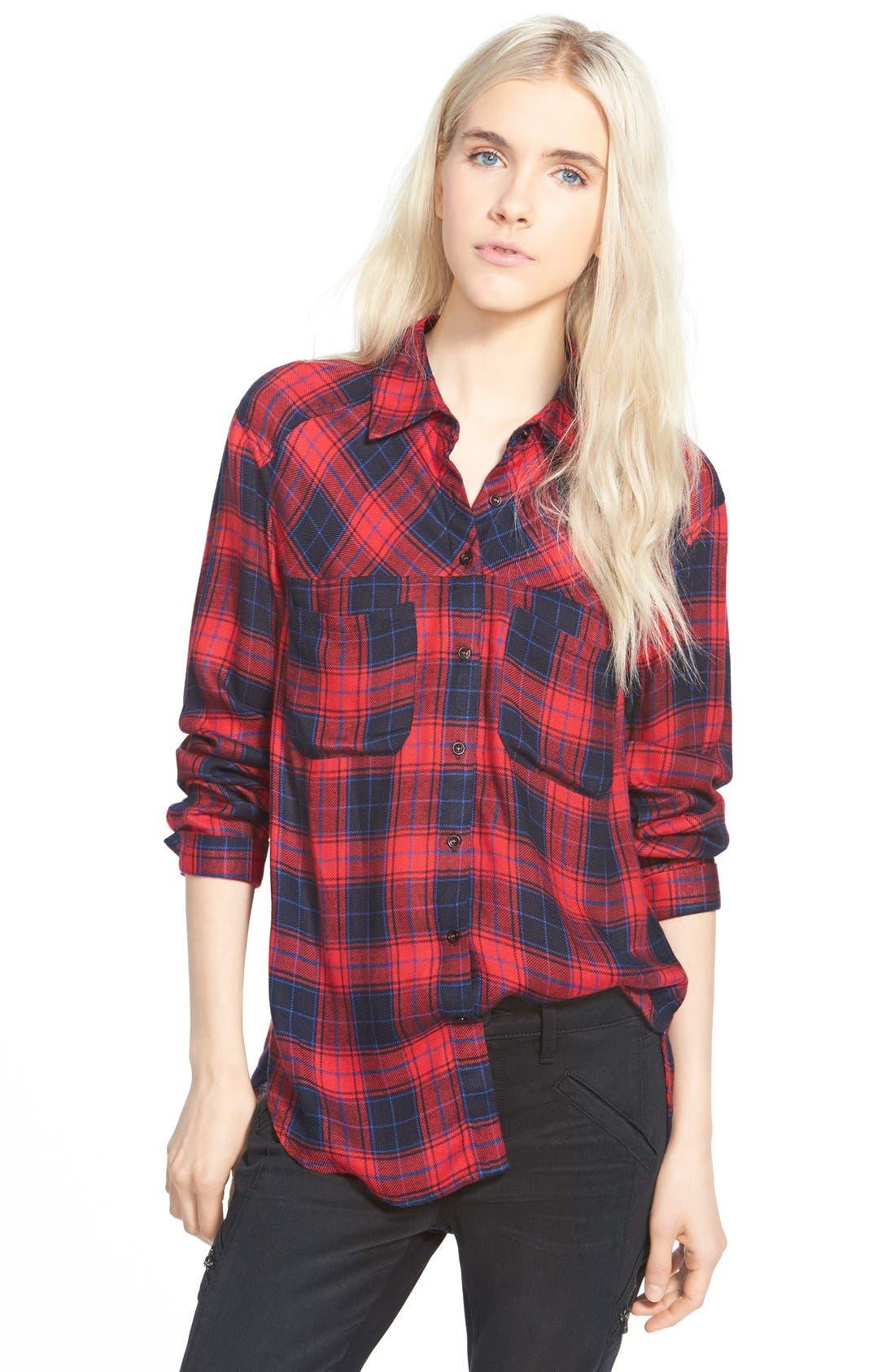 Button Front Plaid Shirt,                         Main,                         color, Red Plaid