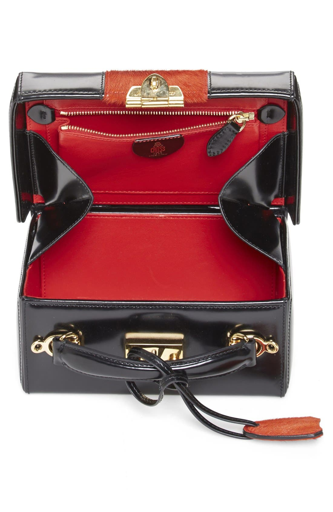 'Grace - Small' Smooth Calfskin & Genuine Calf Hair Box Trunk,                             Alternate thumbnail 3, color,                             Black/Blood Orange