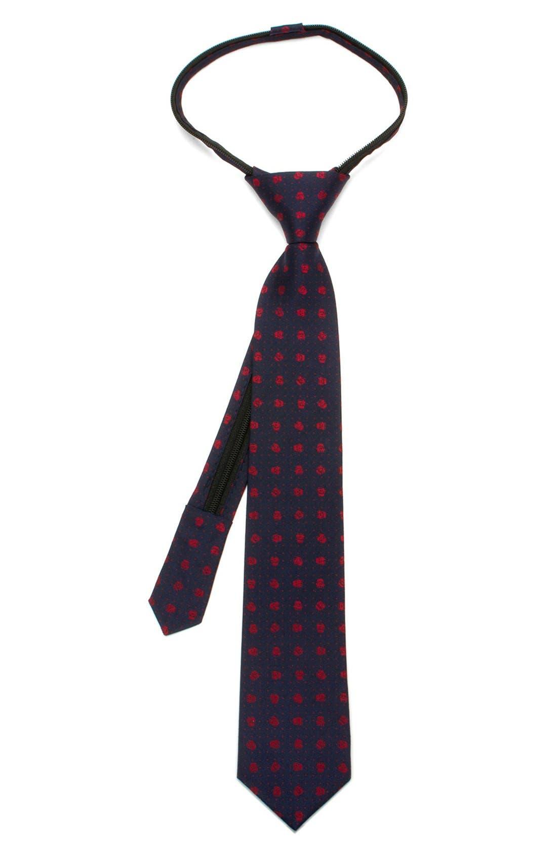 'Star Wars<sup>™</sup> - Stormtrooper Dot' Zipper Silk Tie,                         Main,                         color, Blue