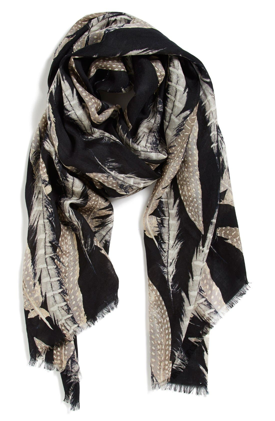 Alternate Image 1 Selected - Nordstrom 'Quill Challis' Feather Print Wool Scarf