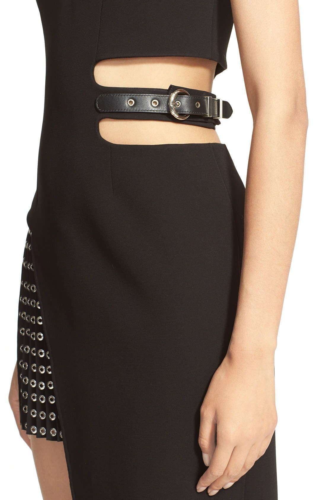 Alternate Image 5  - Anthony Vaccarello Sleeveless Side Cutout Sheath with Grommet Pleated Panel