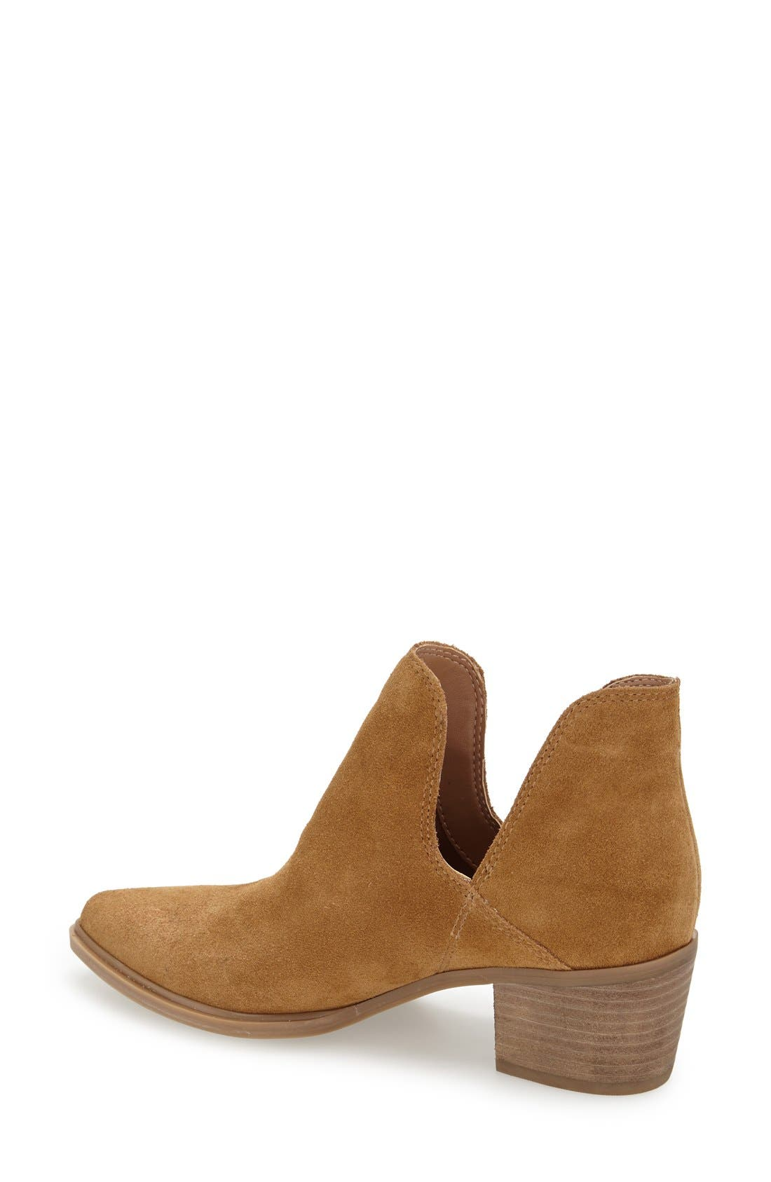 'Dextir' Pointy Toe Ankle Bootie,                             Alternate thumbnail 2, color,                             Camel Suede