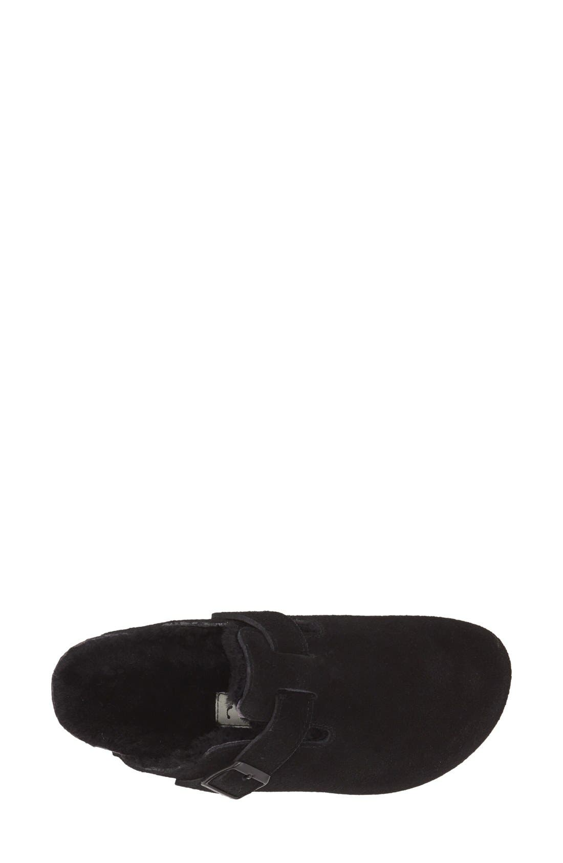 'Boston' Genuine Shearling Lined Clog,                             Alternate thumbnail 4, color,                             Black