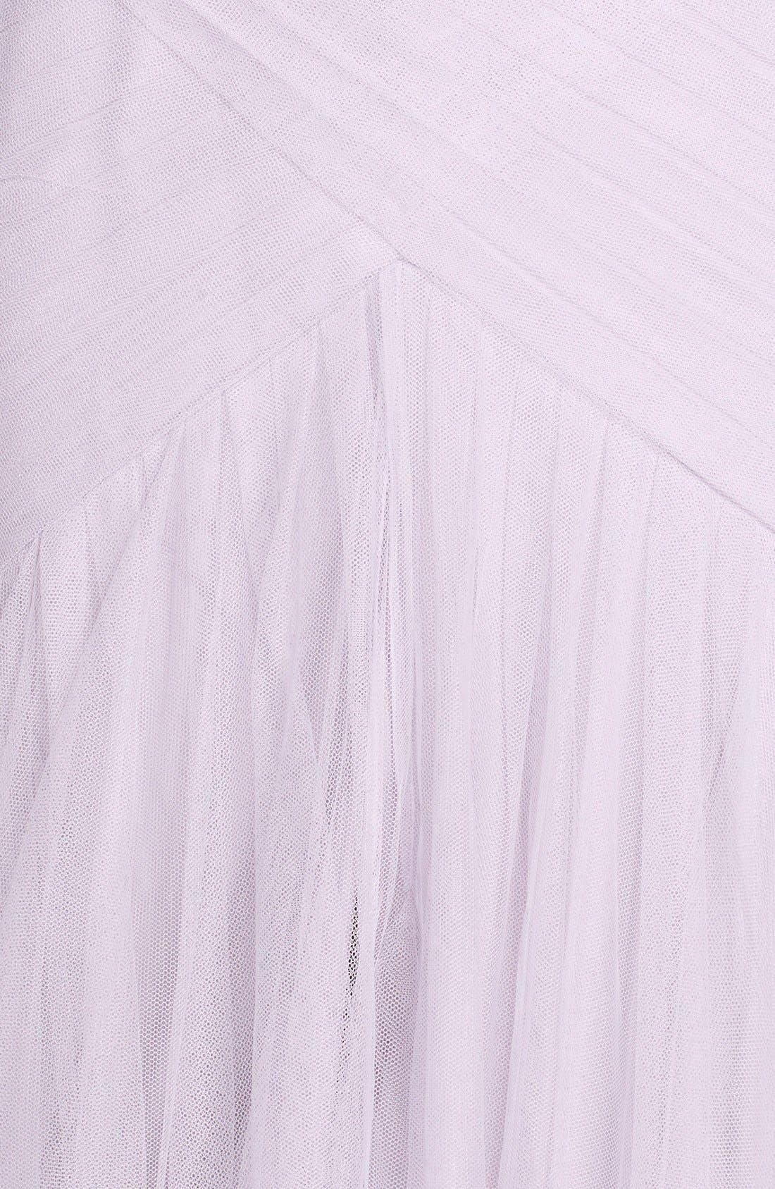 Alternate Image 4  - Monique Lhuillier Bridesmaids Illusion Yoke Pleat Tulle Trumpet Gown
