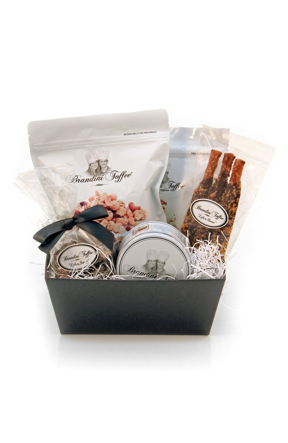 Small Gift Basket,                         Main,                         color, Black/ Silver