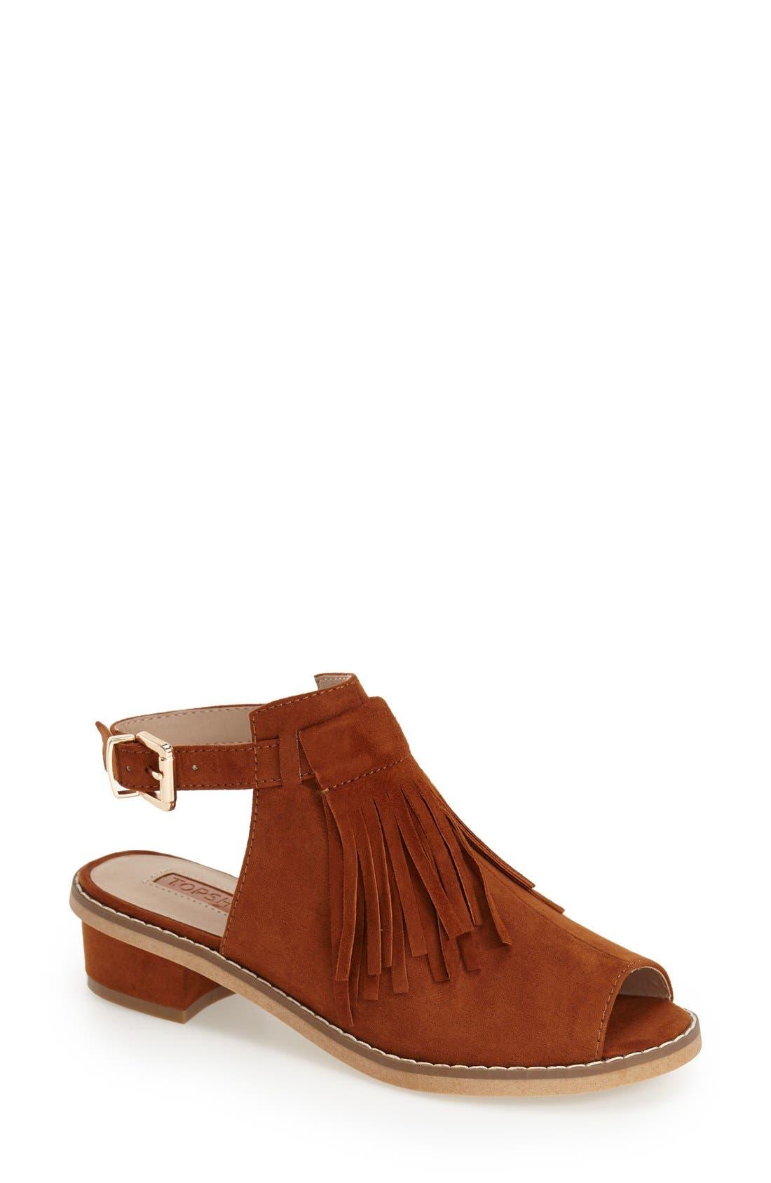 'Blinder' Fringe Sandal,                         Main,                         color, Tan