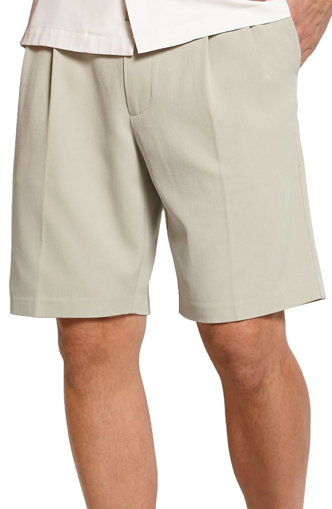 St. Thomas Pleated Shorts,                             Main thumbnail 1, color,                             Abbey Stone