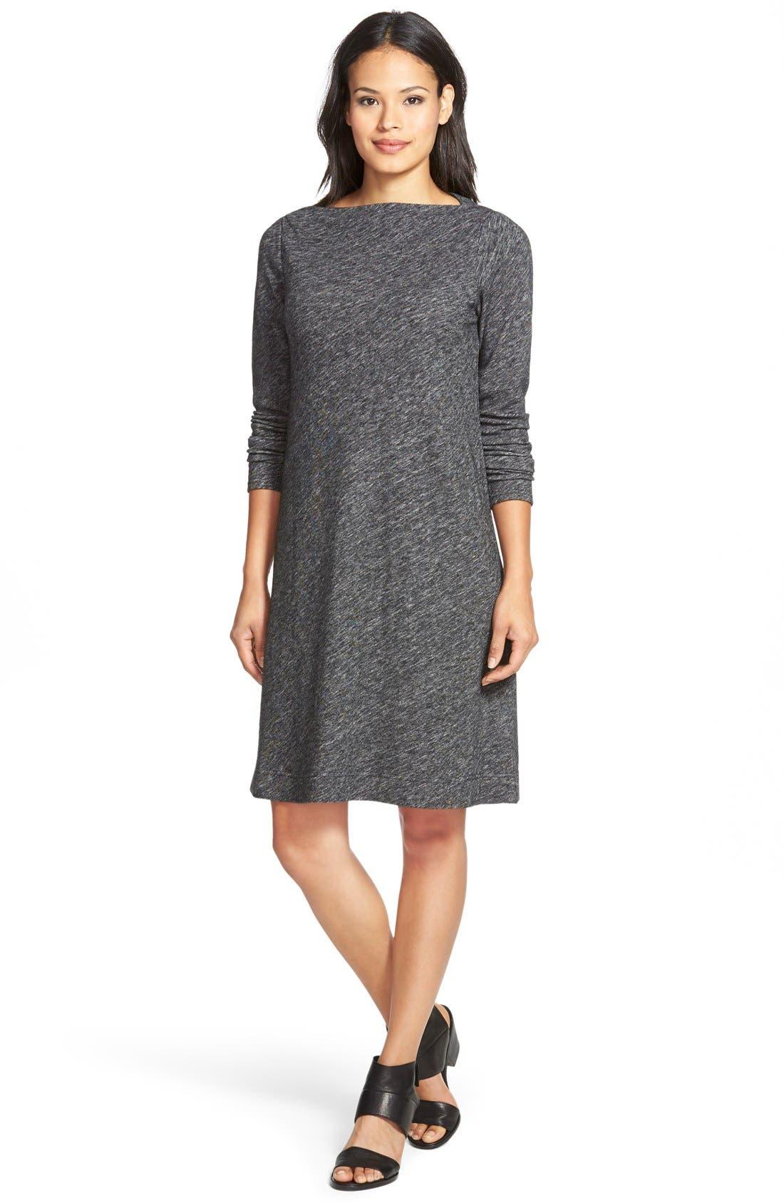 Bateau Neck Knit ShiftDress,                         Main,                         color, Charcoal