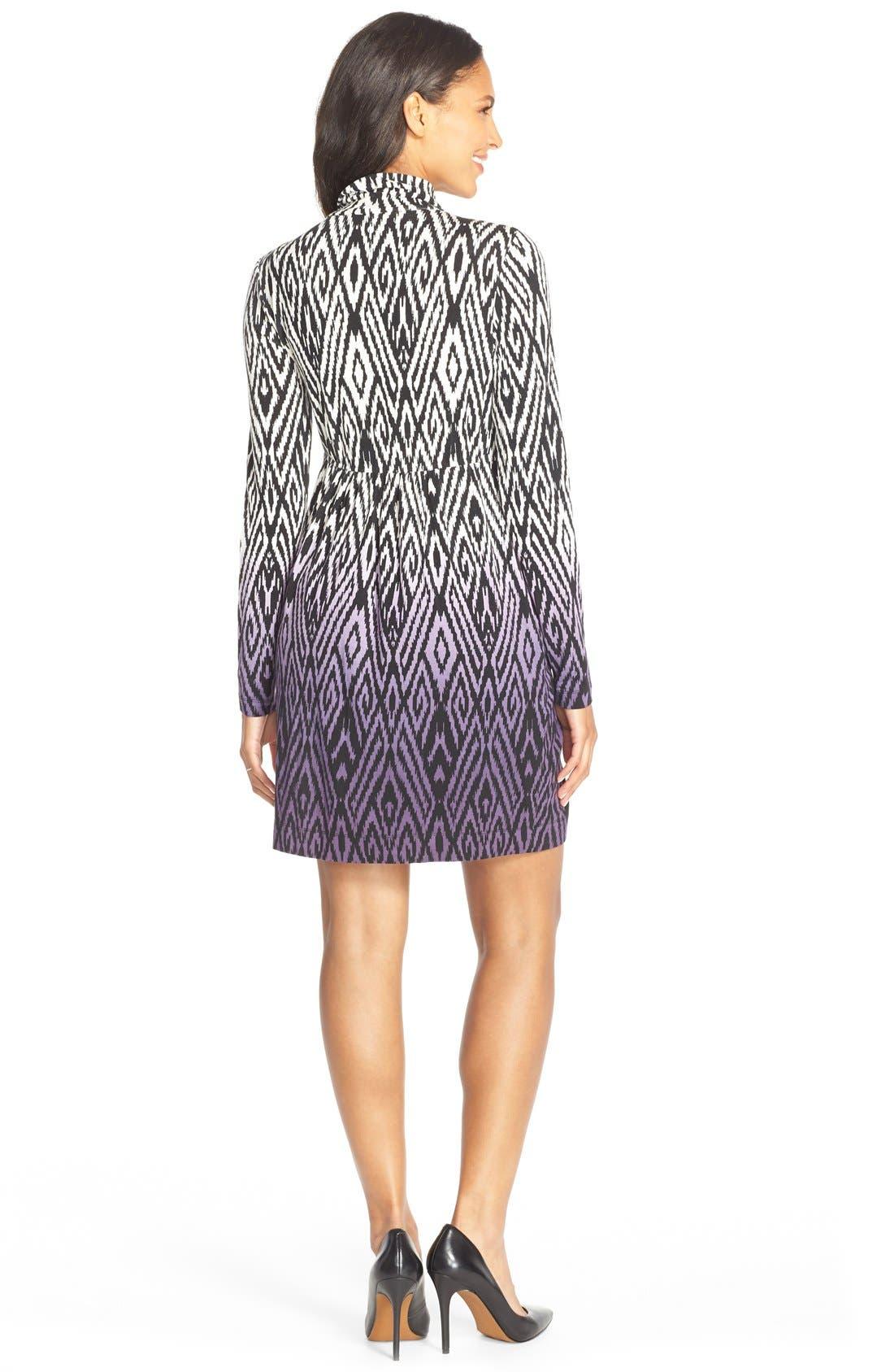 'Rhiannon' Turtleneck Fit & Flare Maternity Dress,                             Alternate thumbnail 2, color,                             Dip Dye Ikat