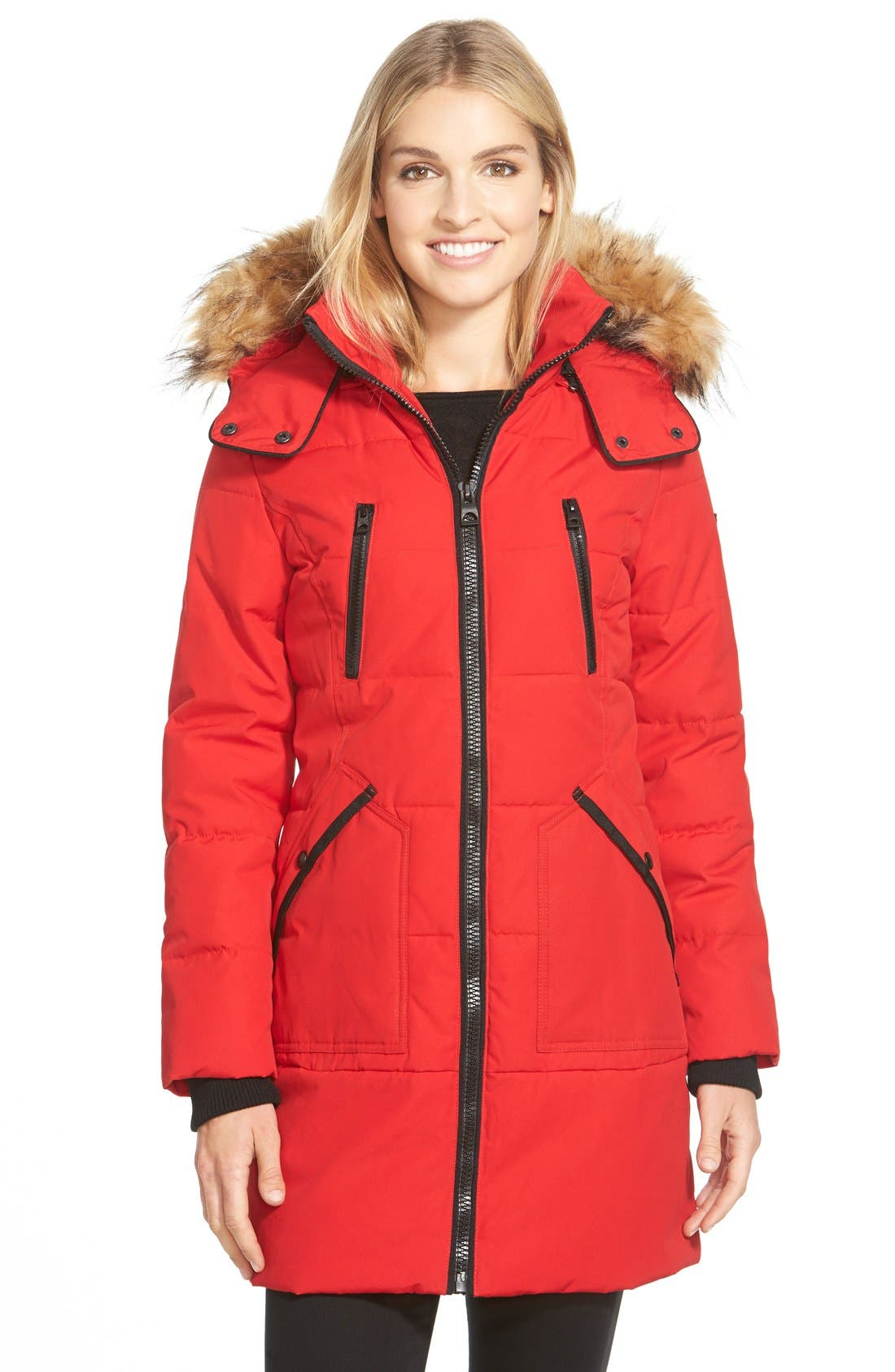 'Expedition' Quilted Parka with Faux Fur Trim,                             Main thumbnail 1, color,                             Fire
