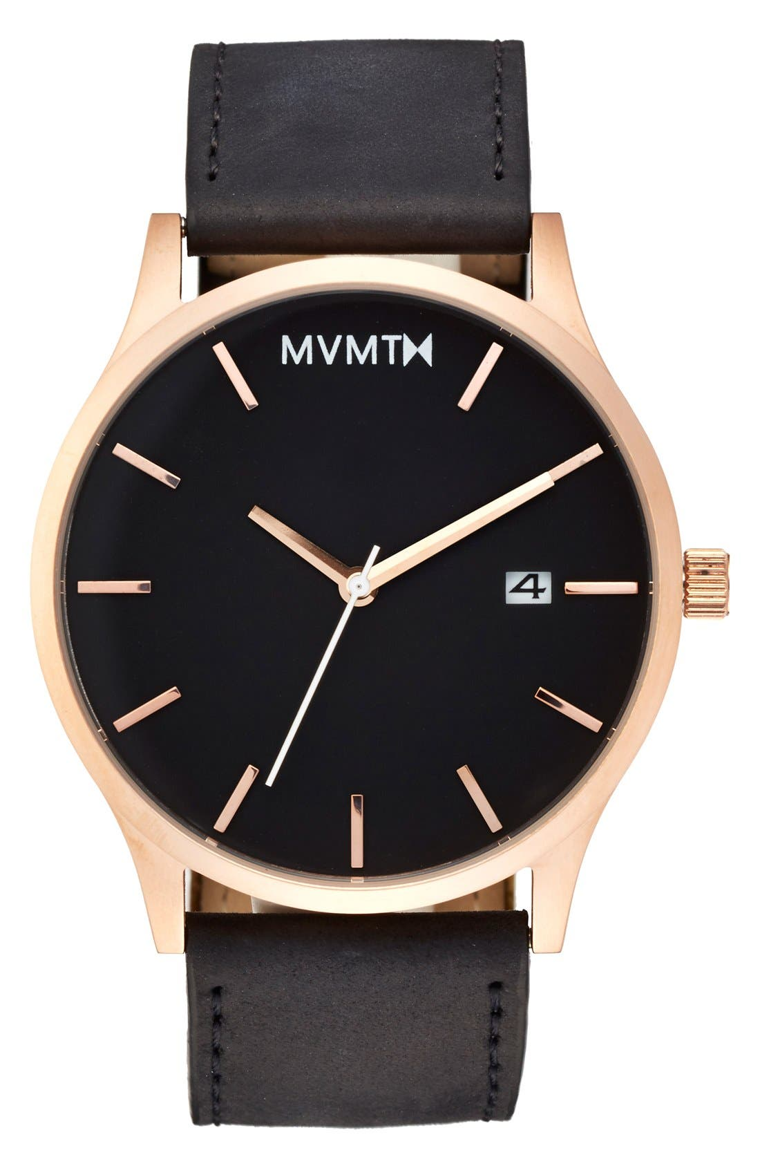 Leather Strap Watch, 45mm,                         Main,                         color, Black/ Rose Gold