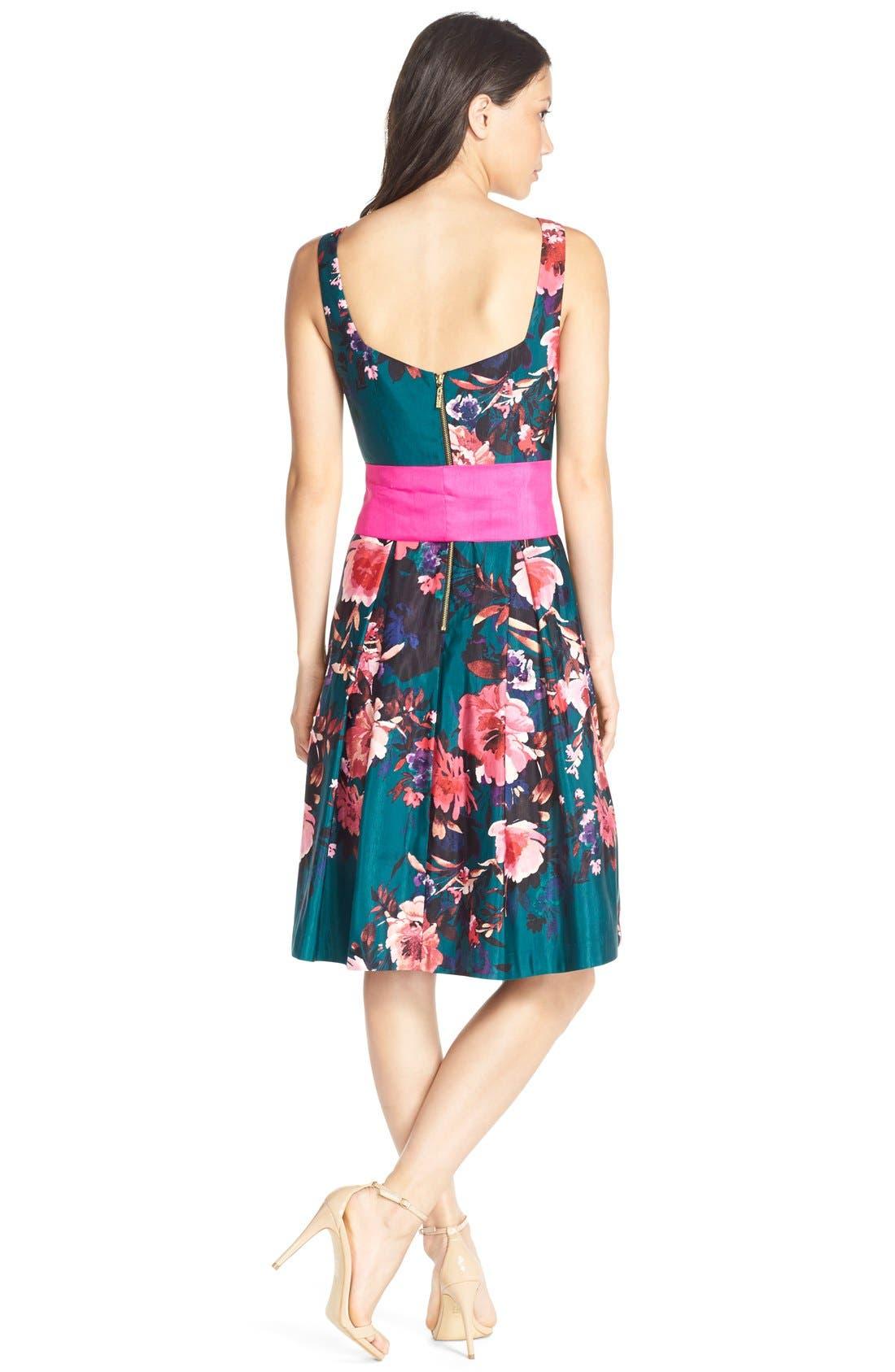 Alternate Image 2  - Eliza JFloral Print Faille Fit & Flare Dress (Regular & Petite)