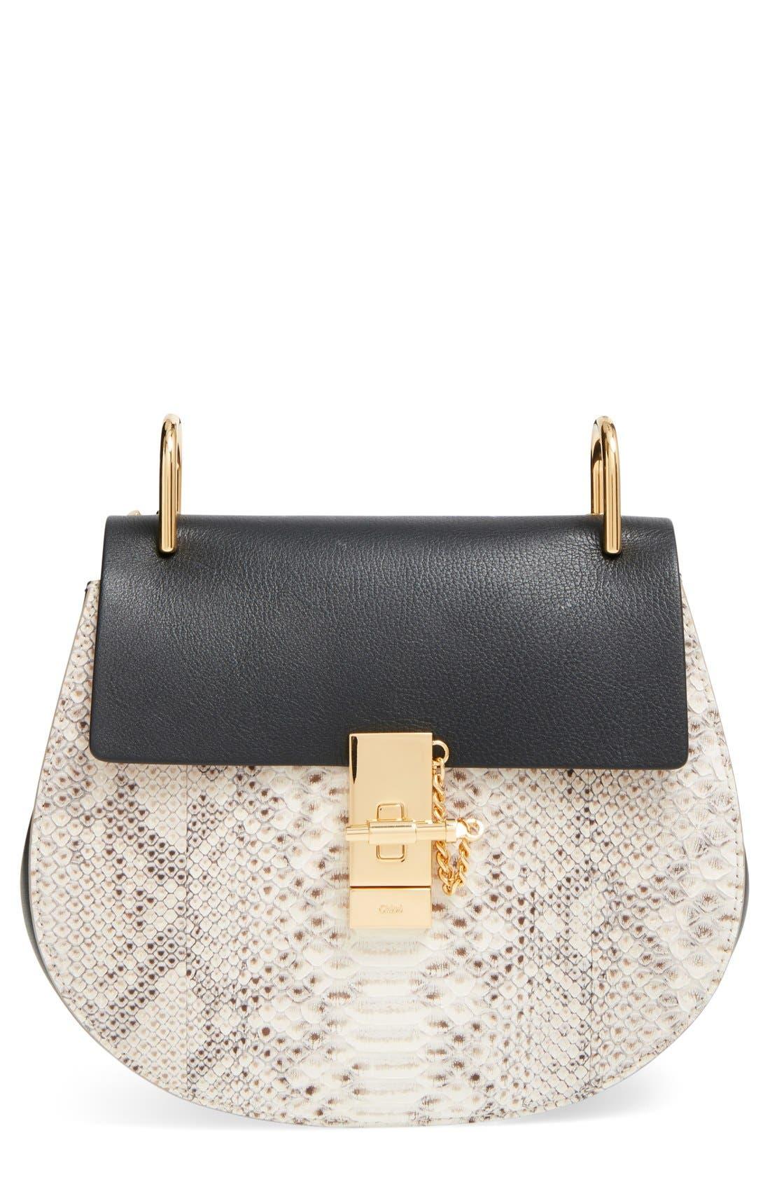 Main Image - Chloé'Small Drew' Genuine Python & Calfskin Leather Crossbody Bag