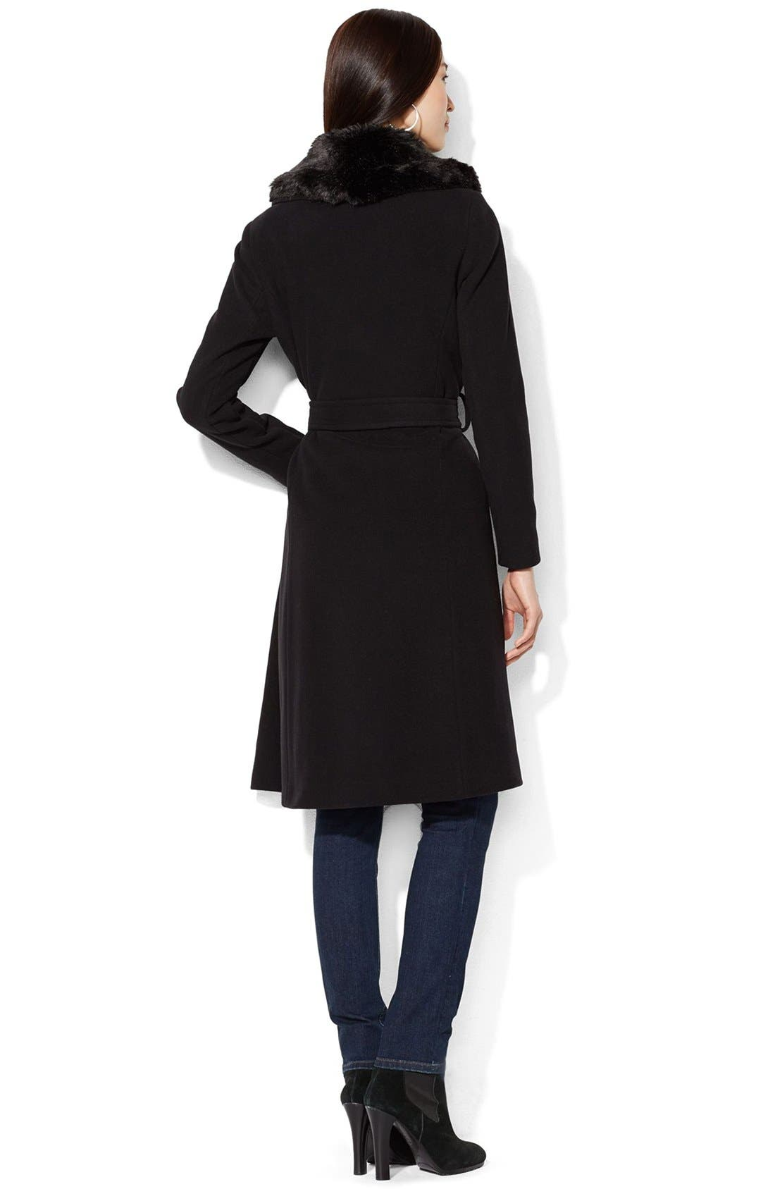 Alternate Image 2  - Lauren Ralph Lauren FauxFur Collar Long Wool Blend Wrap Coat
