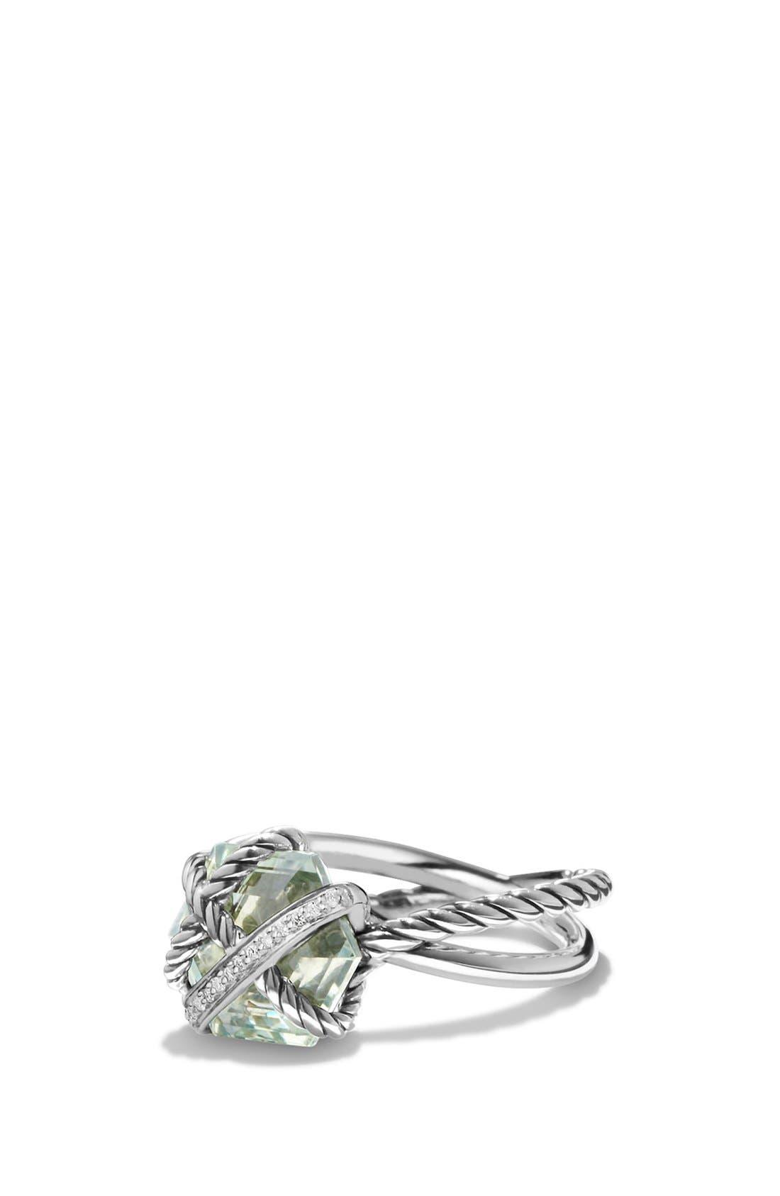 Cable Wrap Ring with Semiprecious Stone andDiamonds,                         Main,                         color, Prasiolite