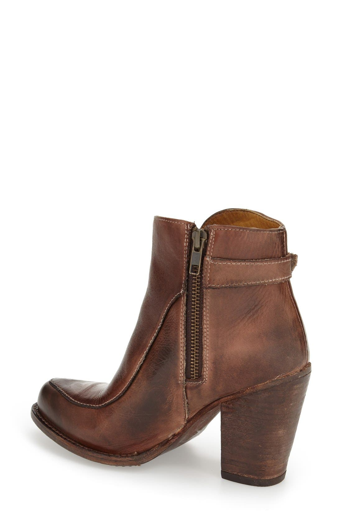 'Isla' Stacked Heel Boot,                             Alternate thumbnail 2, color,                             Teak Rustic Leather