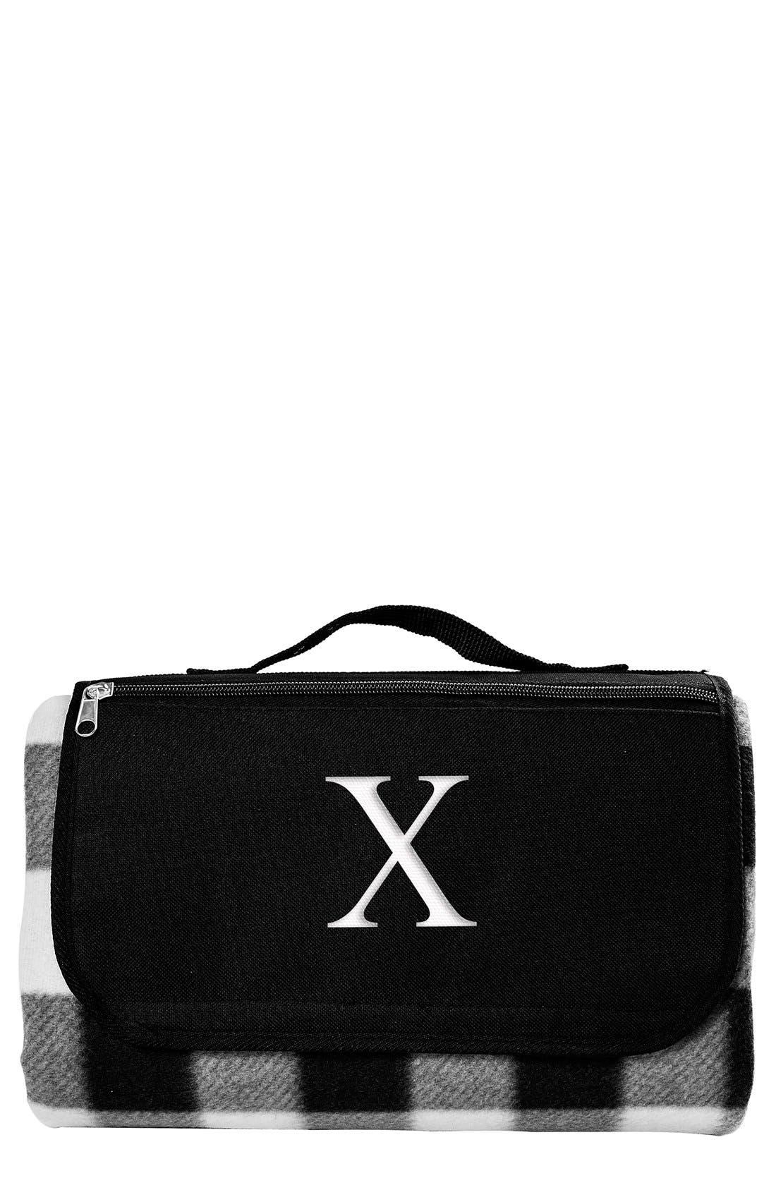 Monogram Plaid Fold-Up Picnic Blanket,                             Main thumbnail 1, color,                             Black/ White - X