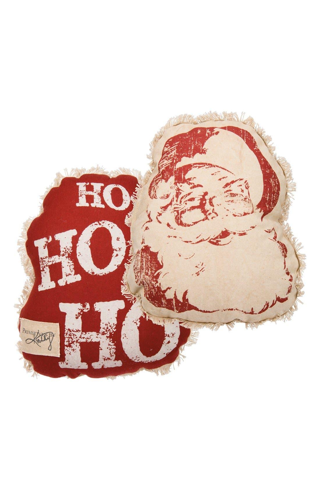 'Santa -Ho Ho Ho' Accent Pillow,                             Main thumbnail 1, color,                             Red