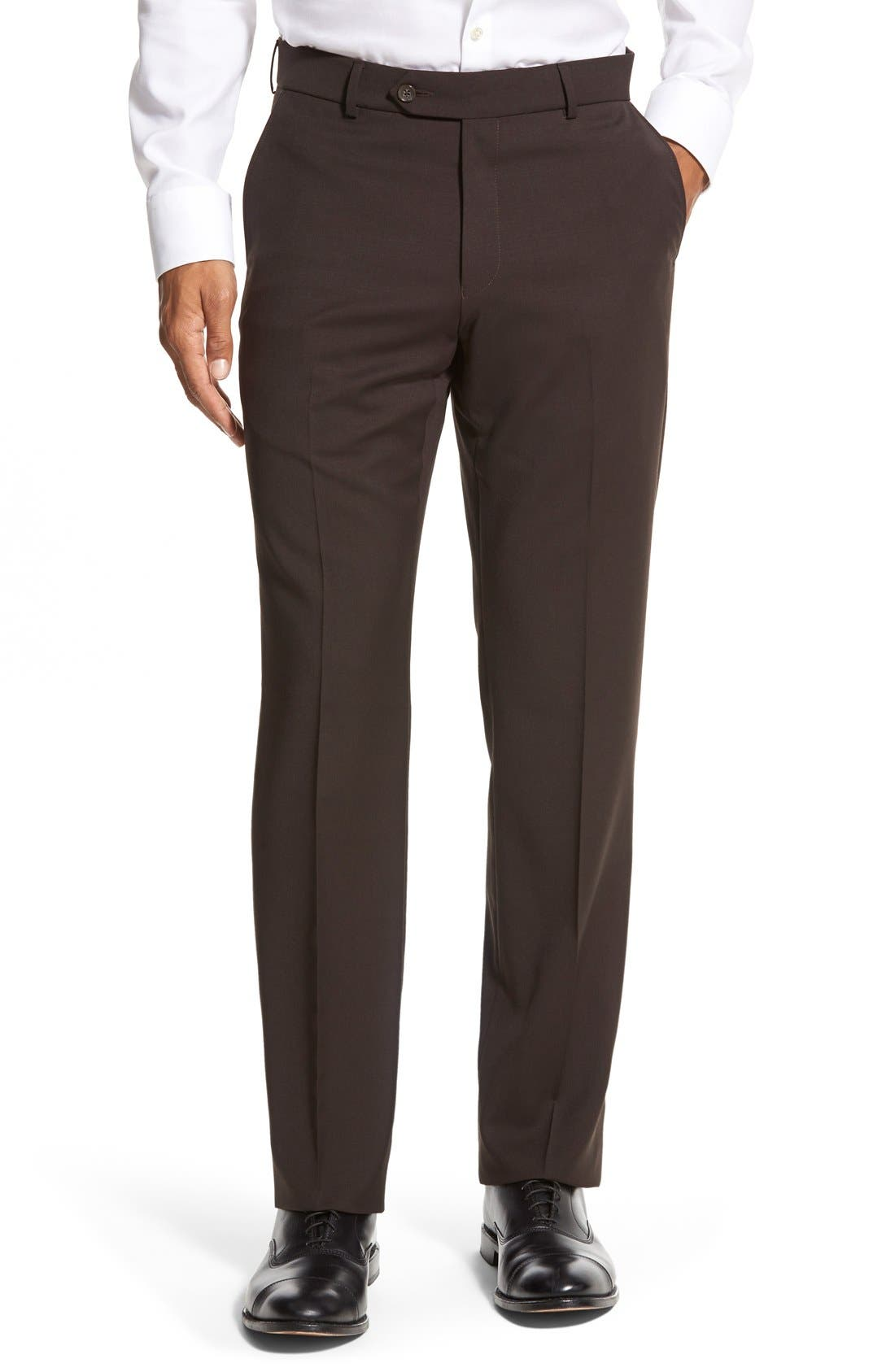 BALLIN Flat Front Solid Wool Trousers in Brown