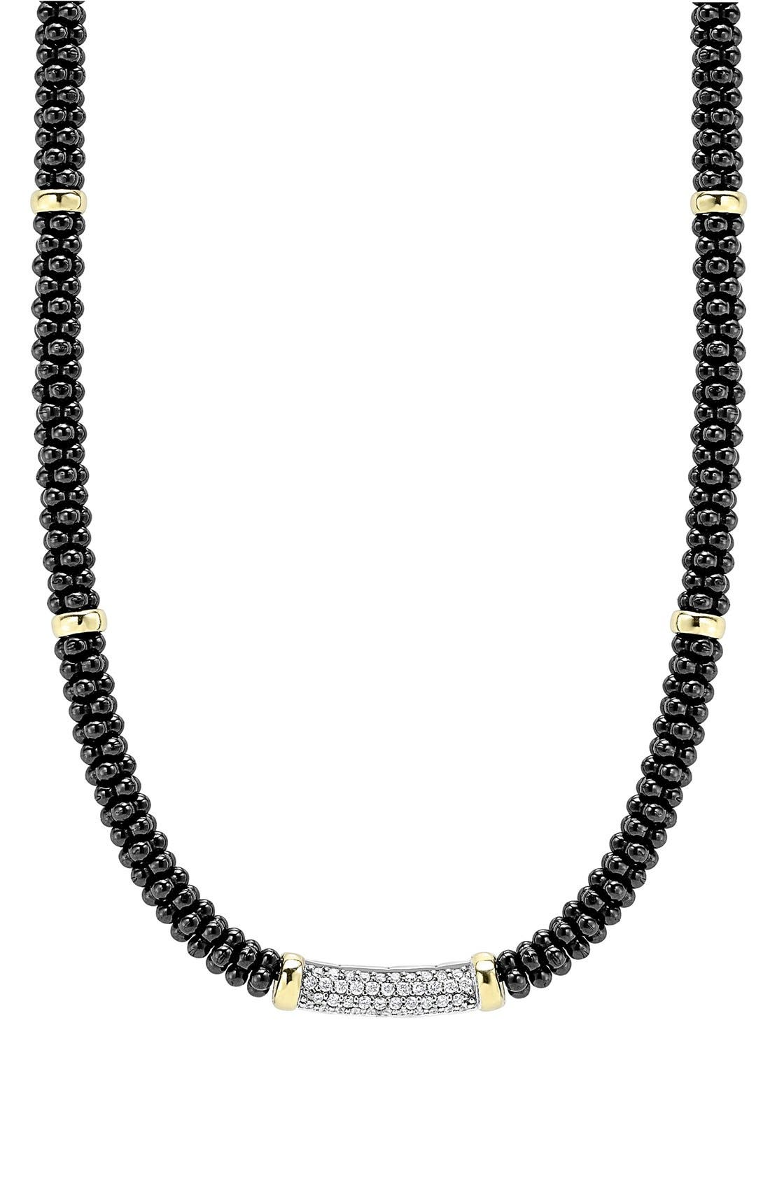 'Black Caviar' 5mm Beaded DiamondBar Necklace,                             Main thumbnail 1, color,                             Black Caviar/ Gold