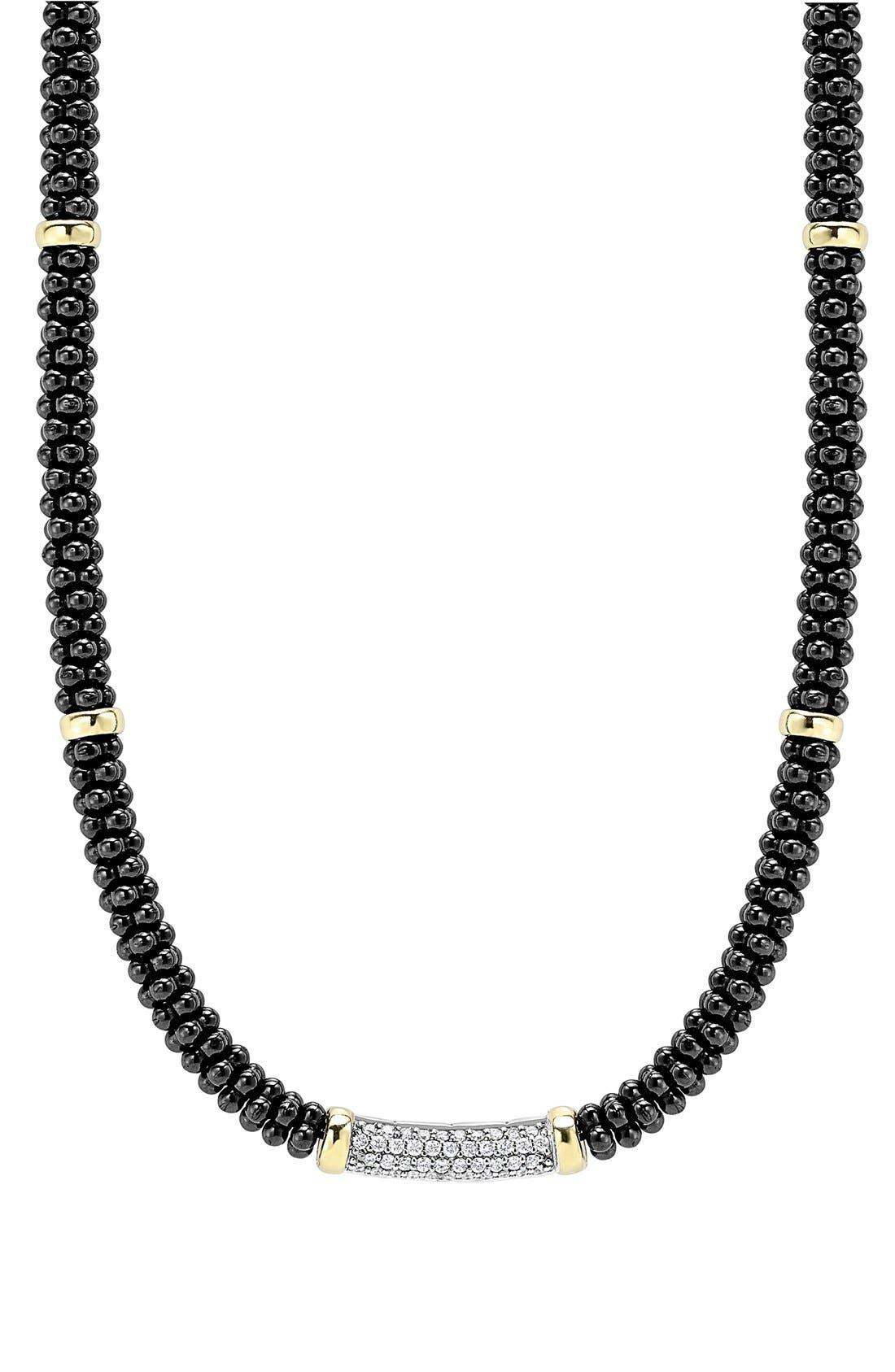 'Black Caviar' 5mm Beaded DiamondBar Necklace,                         Main,                         color, Black Caviar/ Gold