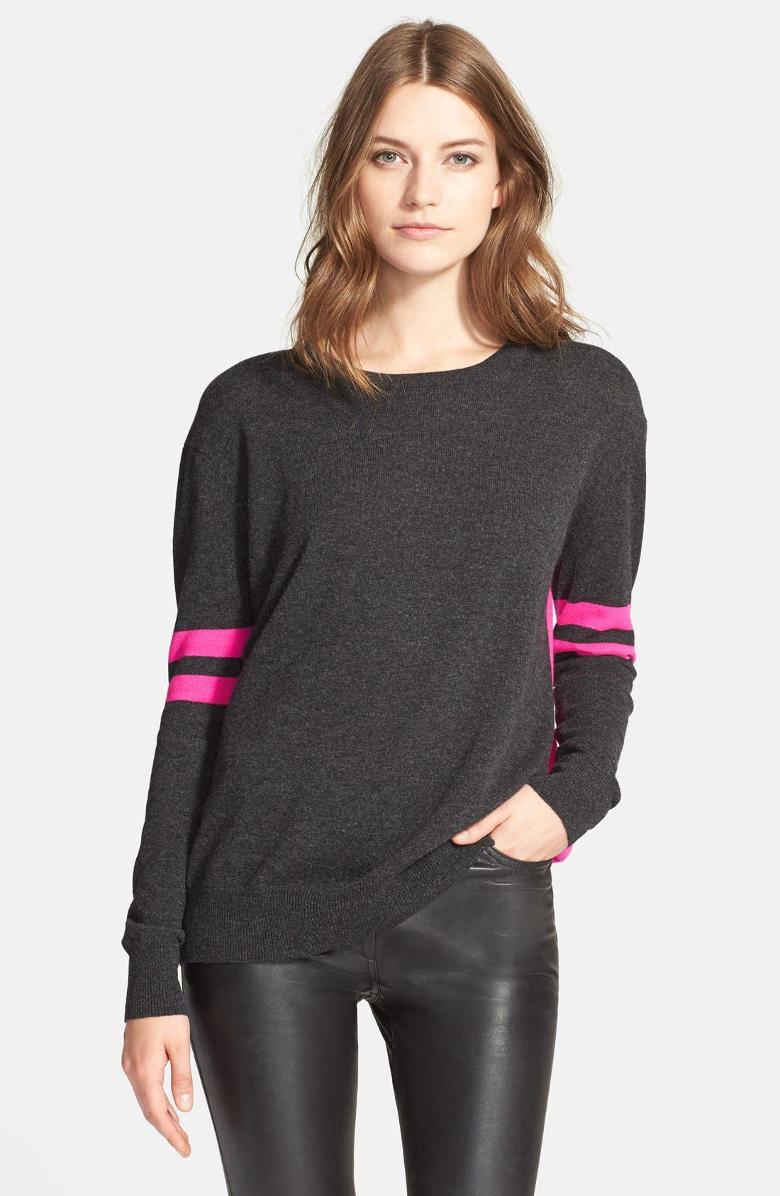 ColorblockCashmere Boyfriend Sweater,                             Main thumbnail 1, color,                             Pepper/ Pink Combo