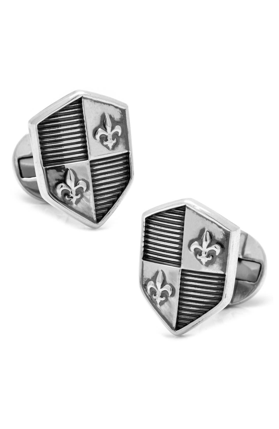 Cuffilnks, Inc. Shield Cuff Links,                             Main thumbnail 1, color,                             Silver