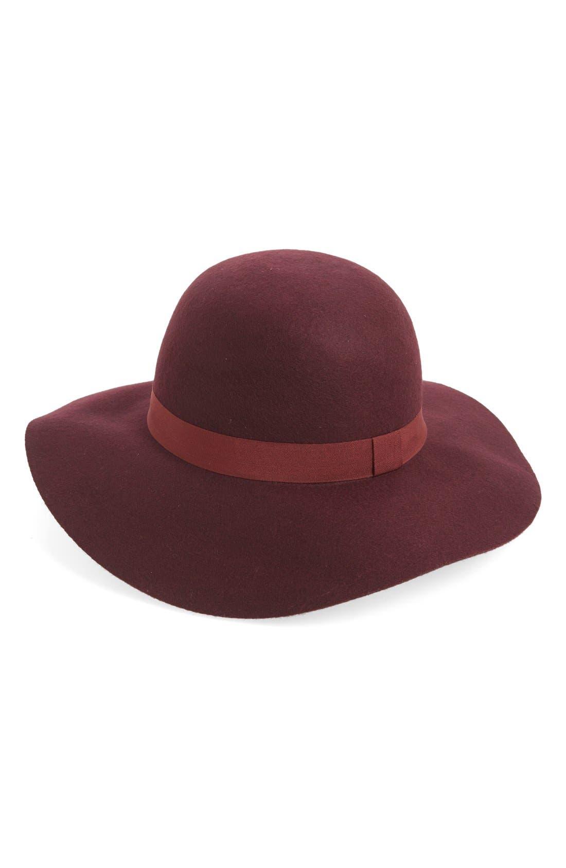 Ribbon Trim Felt Floppy Hat,                             Main thumbnail 1, color,                             Burgundy