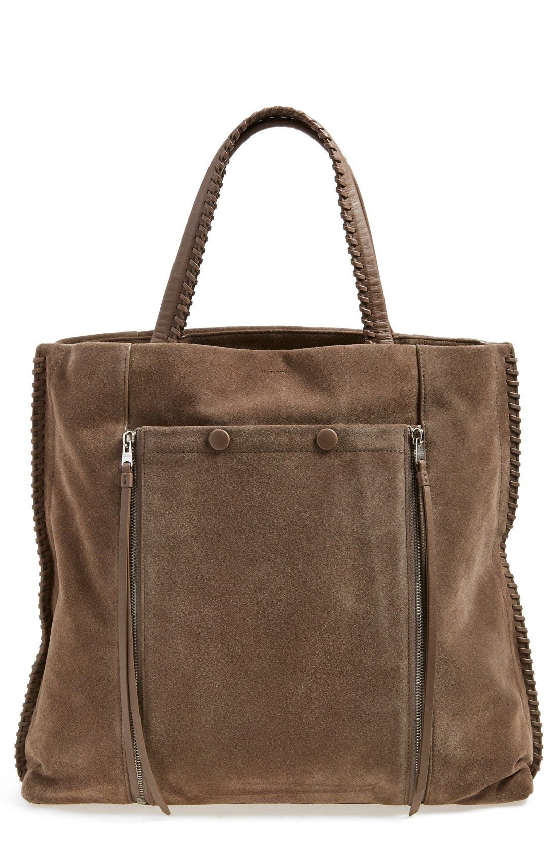 'Fleurdelis North/South' Tote,                             Main thumbnail 1, color,                             Almond/ Taupe