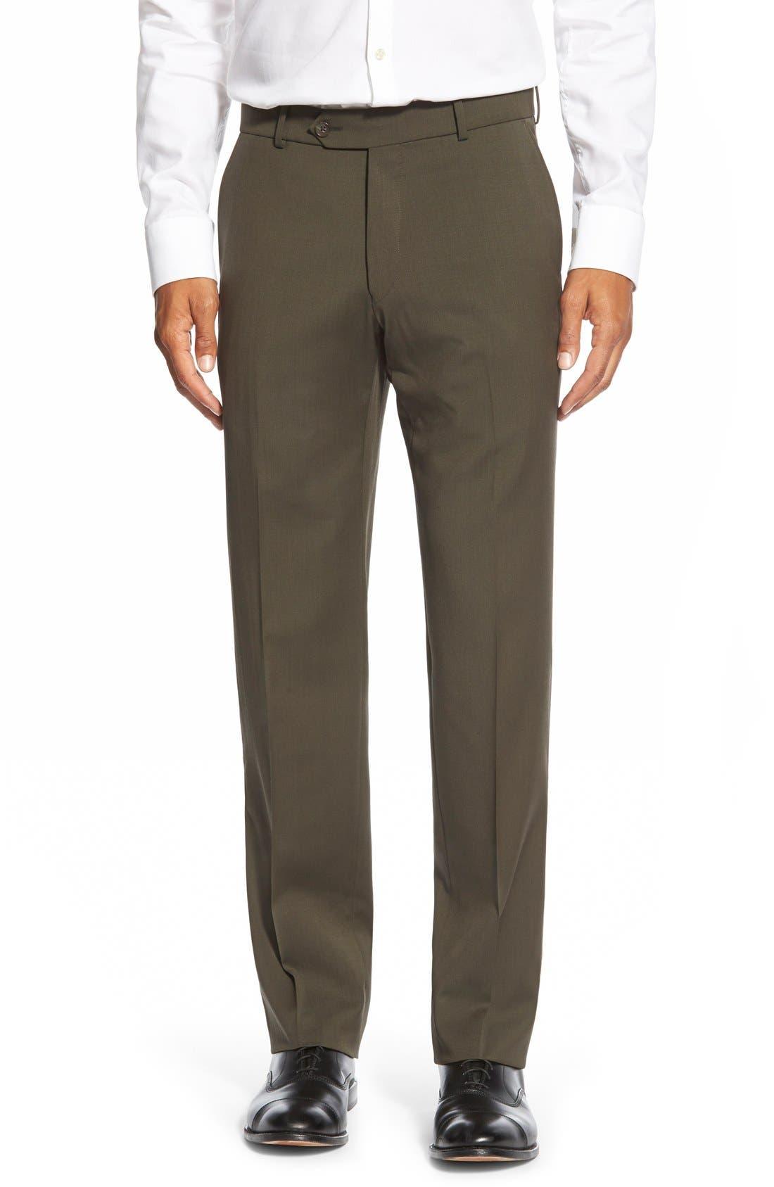 BALLIN Flat Front Solid Wool Trousers in Loden