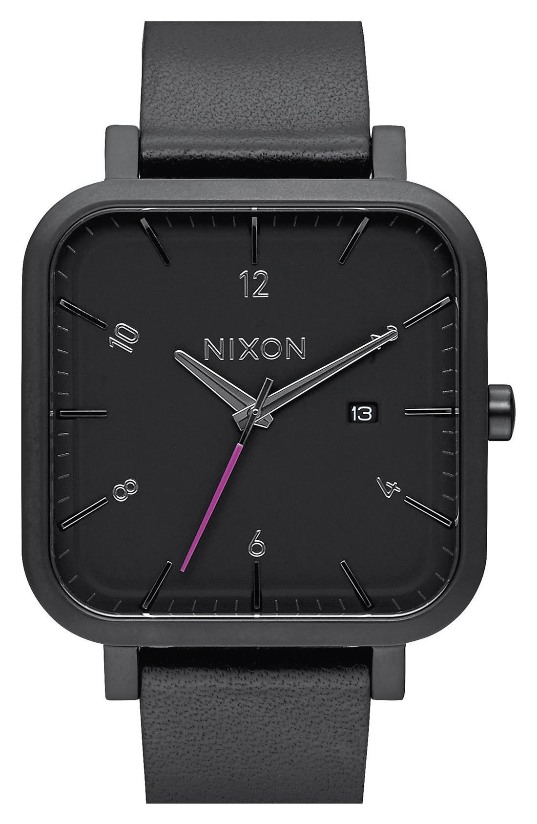 'Ragnar' Square Leather Strap Watch, 40mm x 40mm,                         Main,                         color, Black