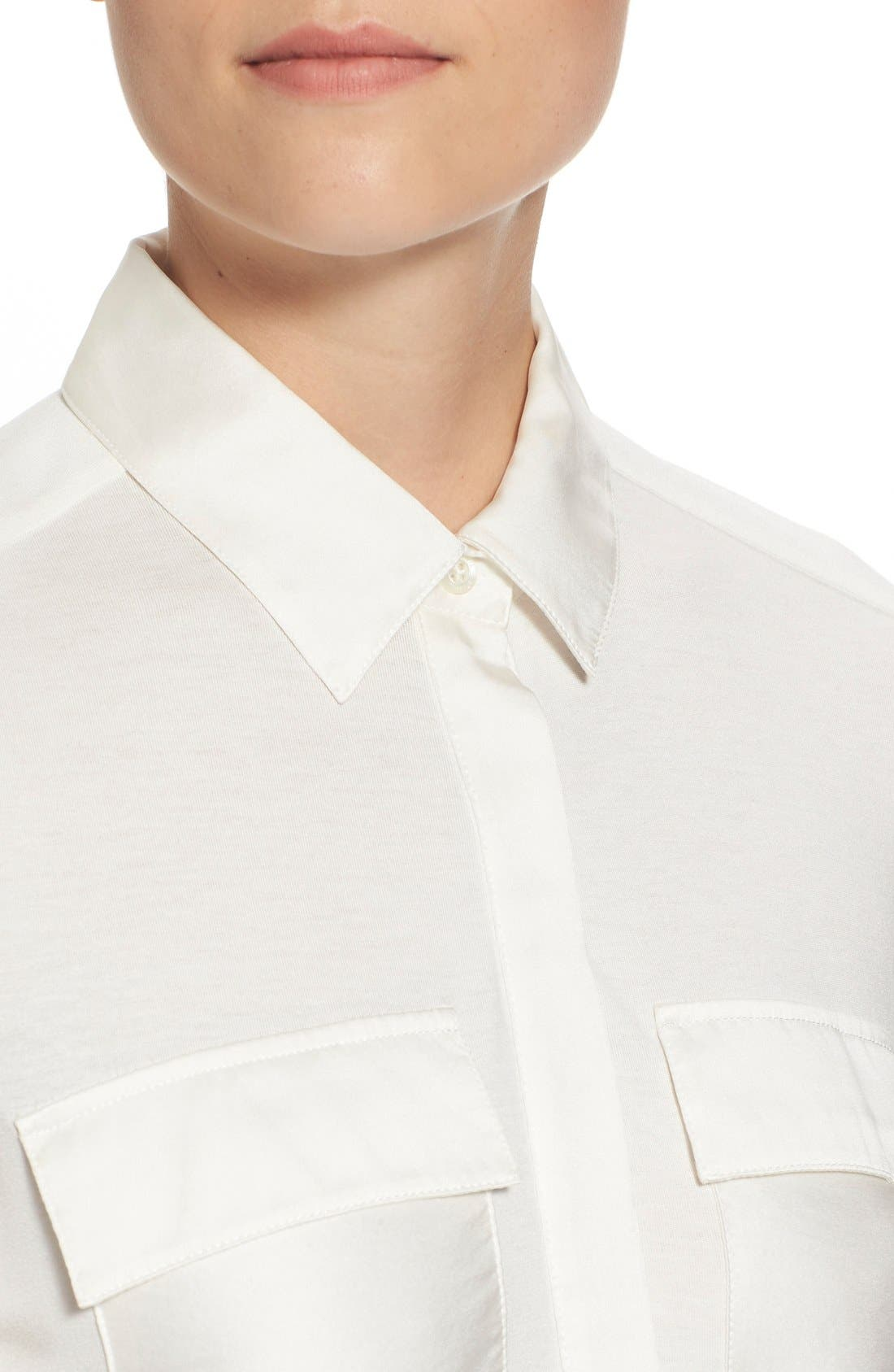 Alternate Image 4  - Pink Tartan Silk Trim Jersey Shirt