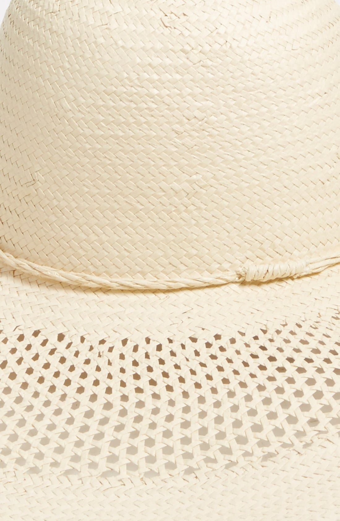 Open Weave Floppy Straw Hat,                             Alternate thumbnail 2, color,                             Ivory Vanilla